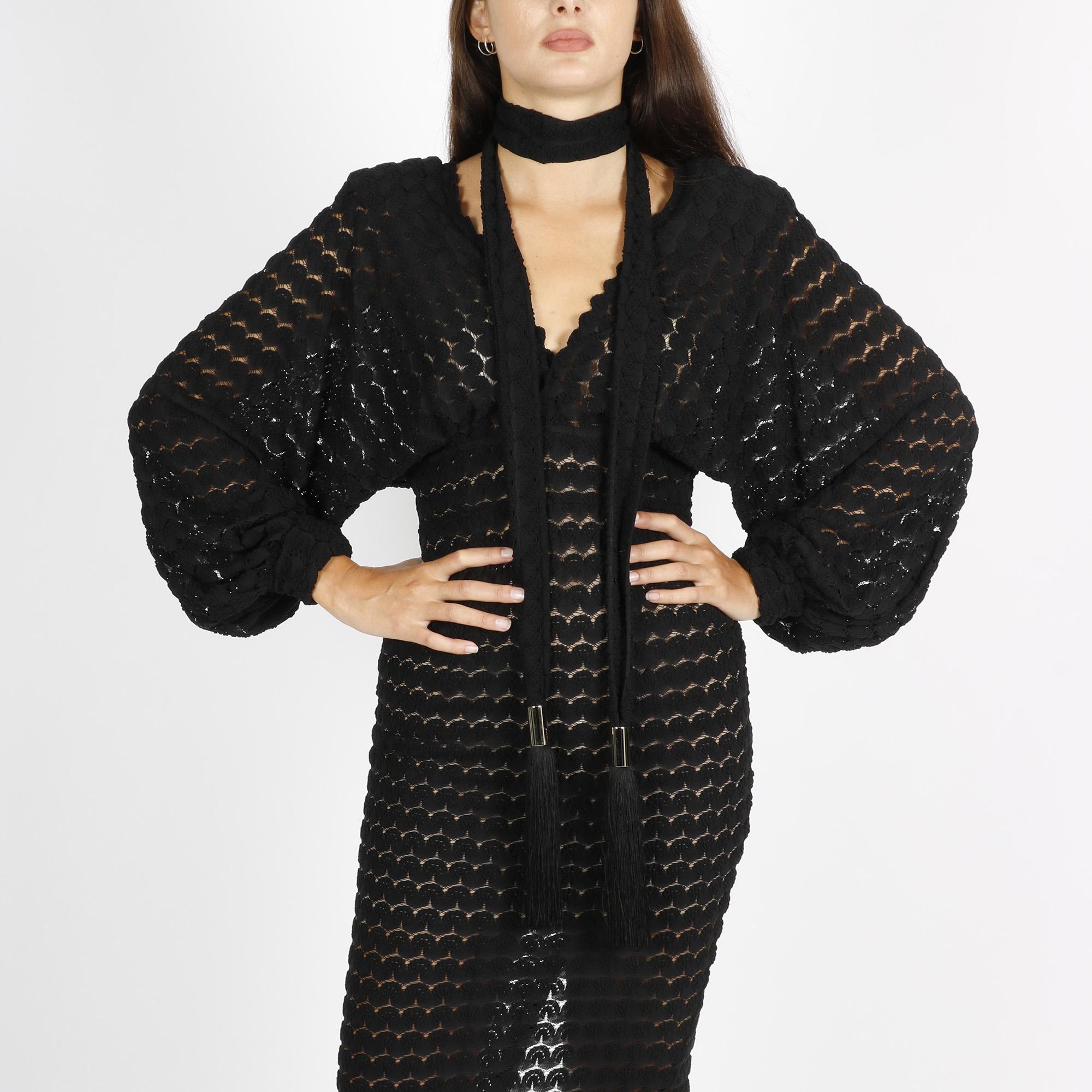 Abito midi in maglia crochet - Nero/beige