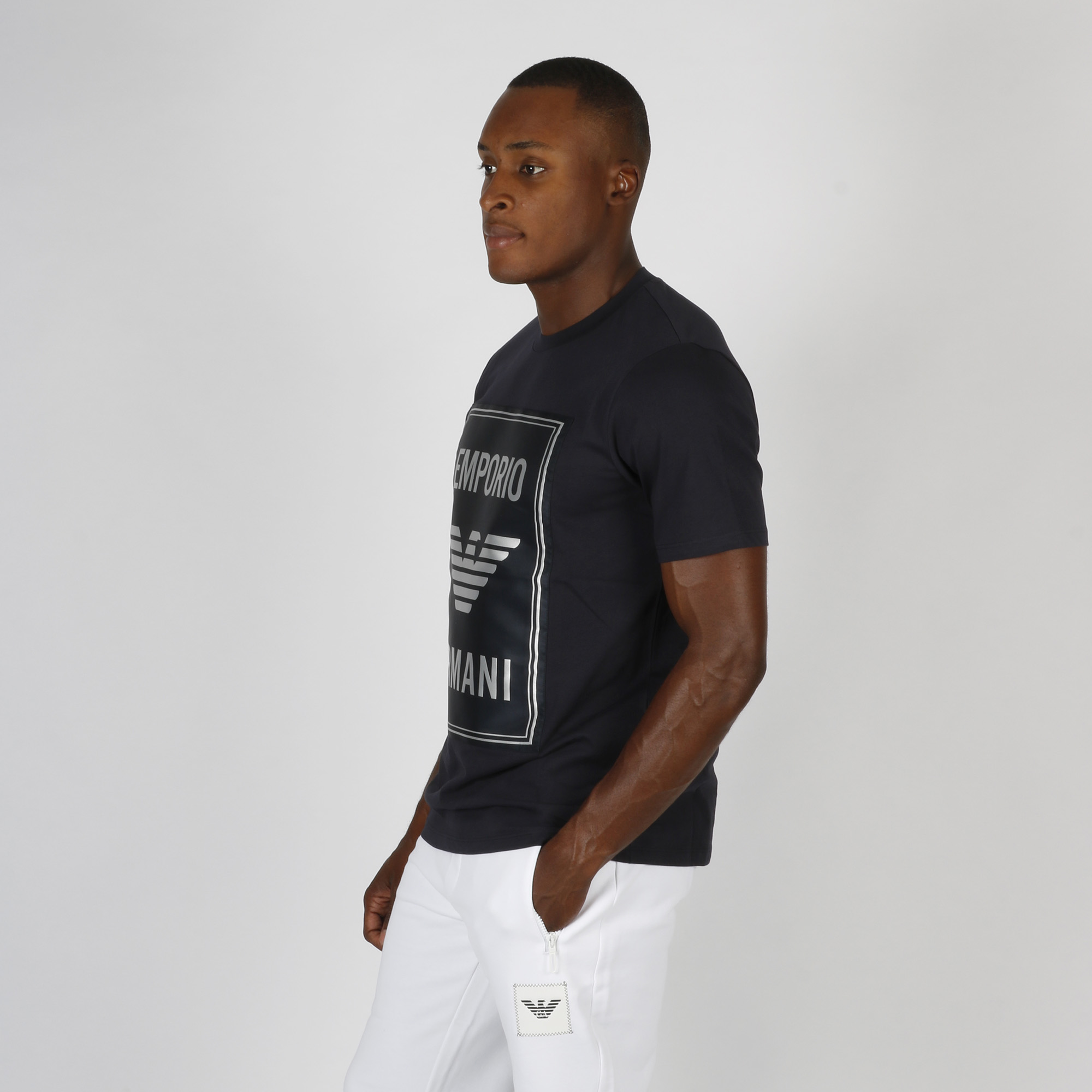 T-shirt logo in raso - Blu navy