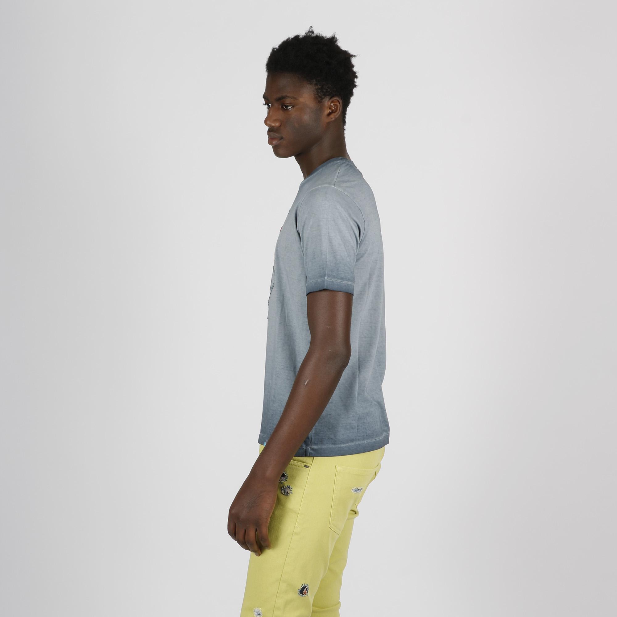 t- shirt ready con stampa teschio - Azzurro