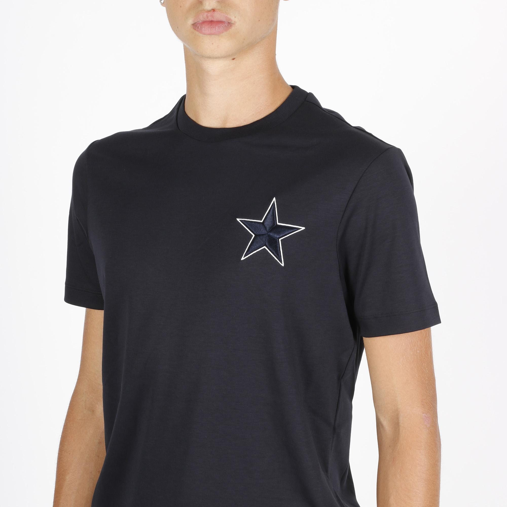 T-shirt ricamo stella e aquila - Blu navy