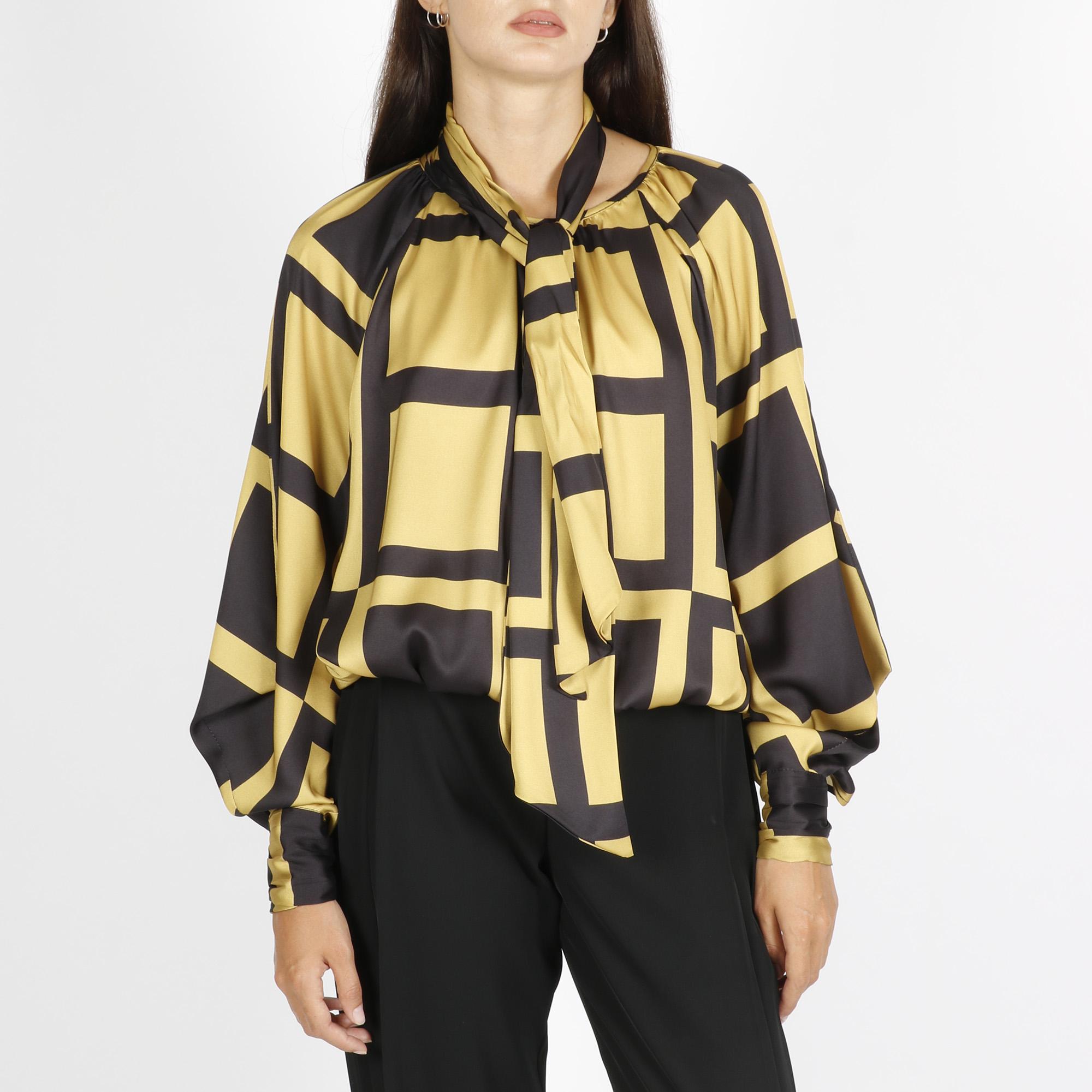 Camicia satinata geometrico - Giallo