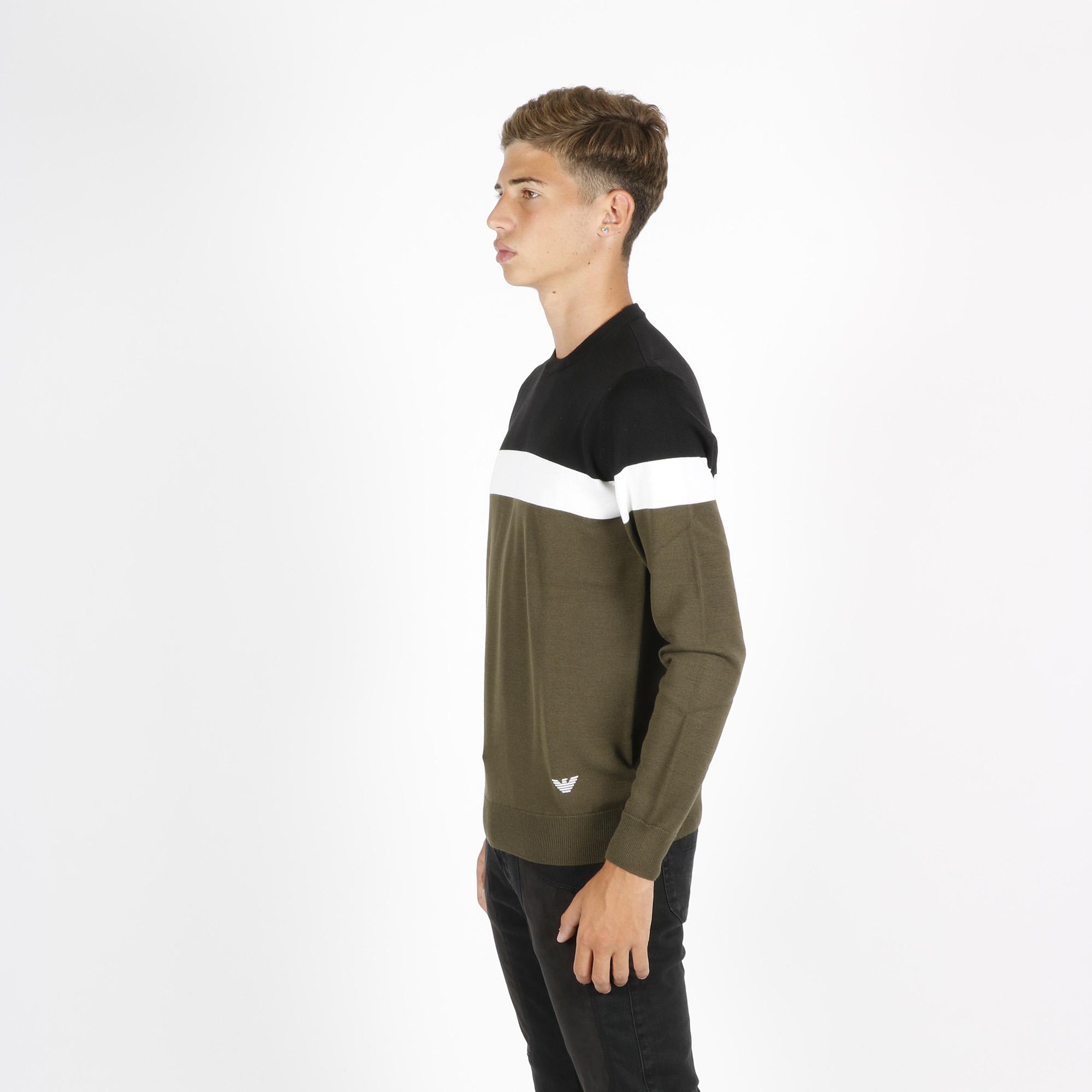 Pullover banda orizzontale - Verde