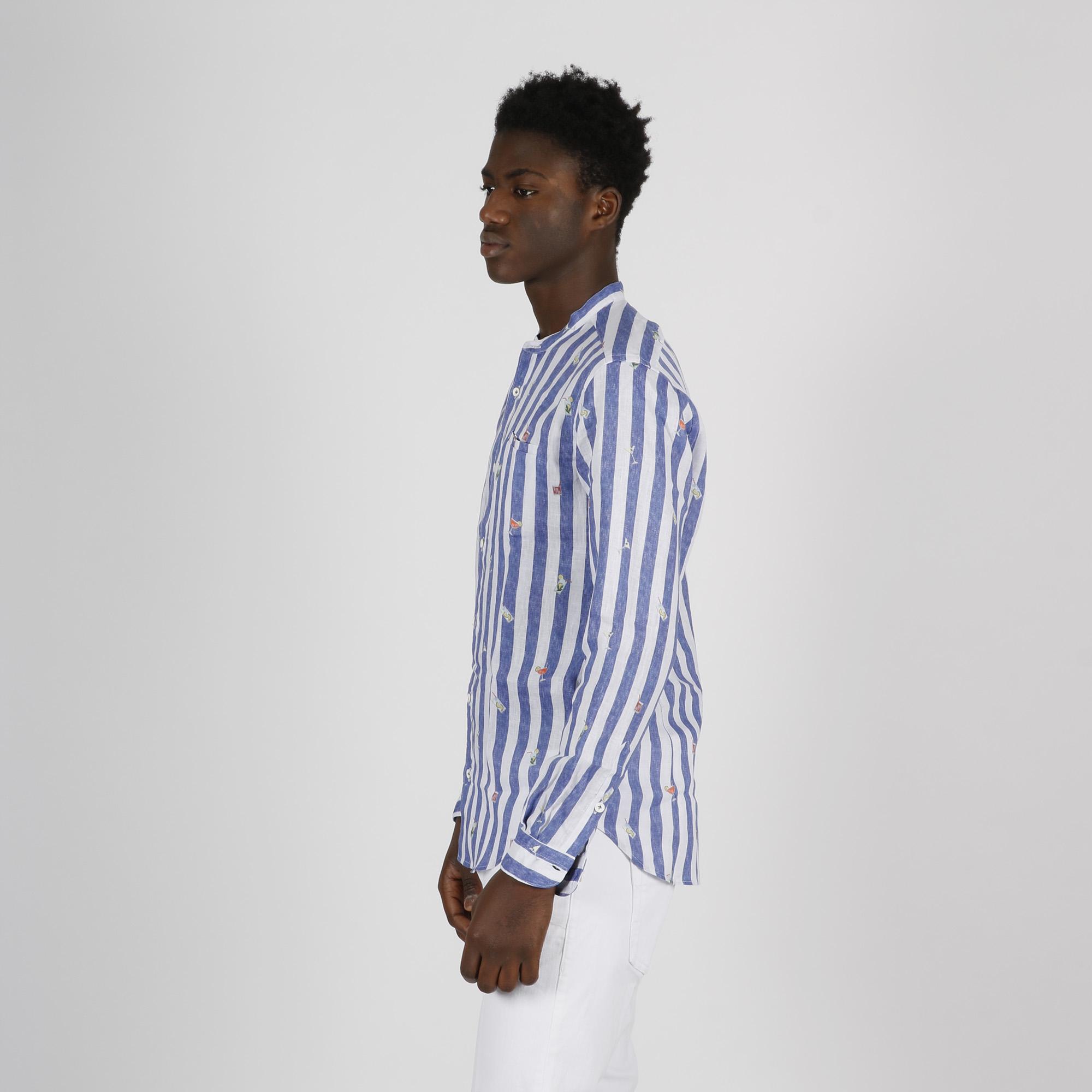Camicia caluso righe e cocktail - Bianco