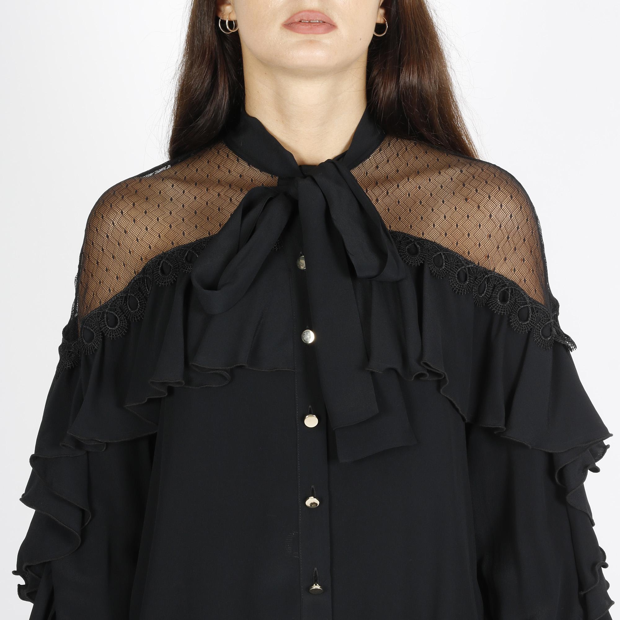 Camicia maniche lunghe con balze - Nero