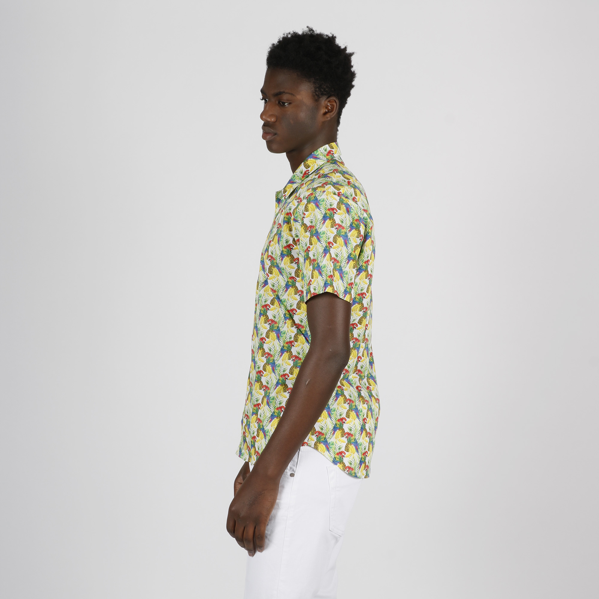 Camicia stampa tropical - Bianco