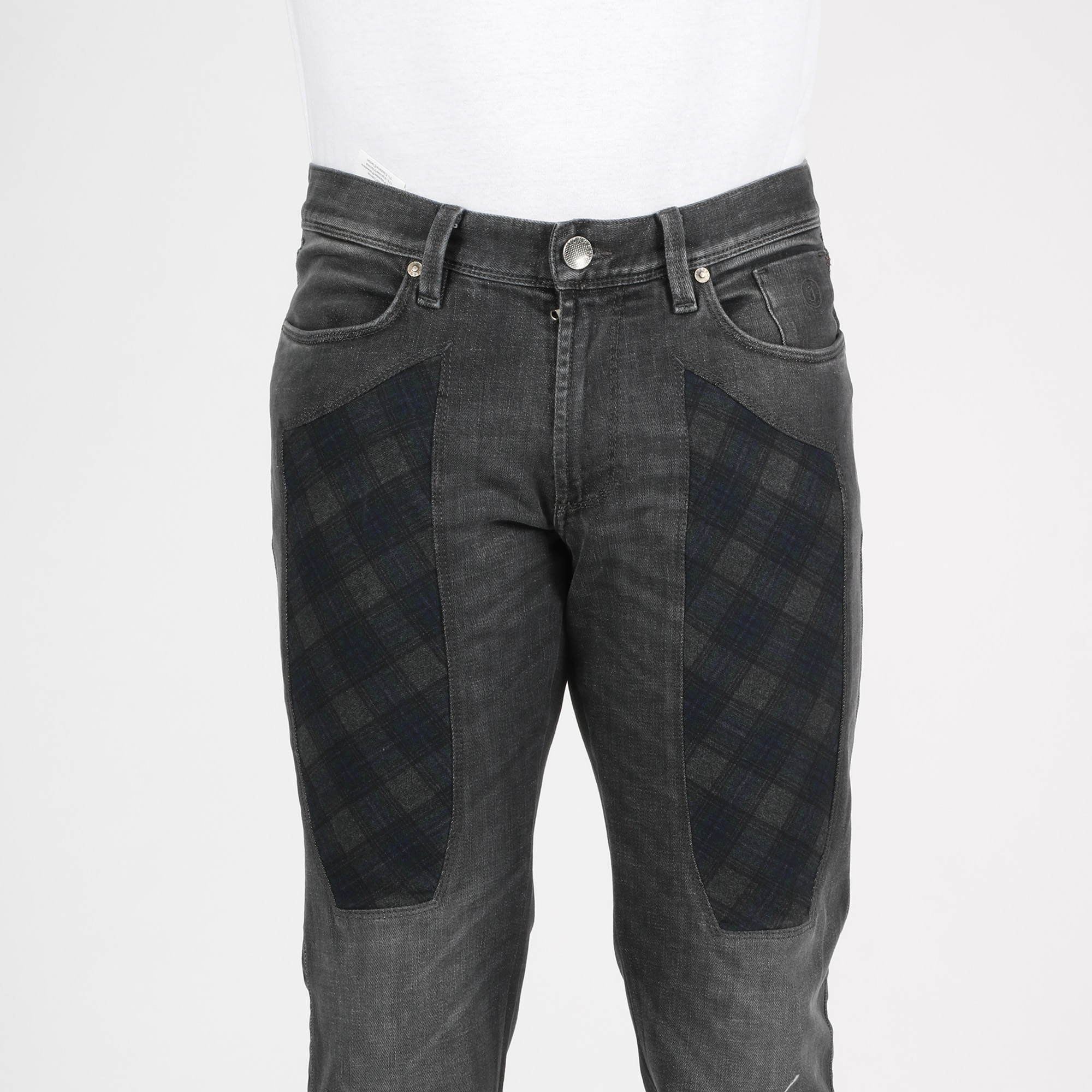 Jeans toppa check - Denim grigio