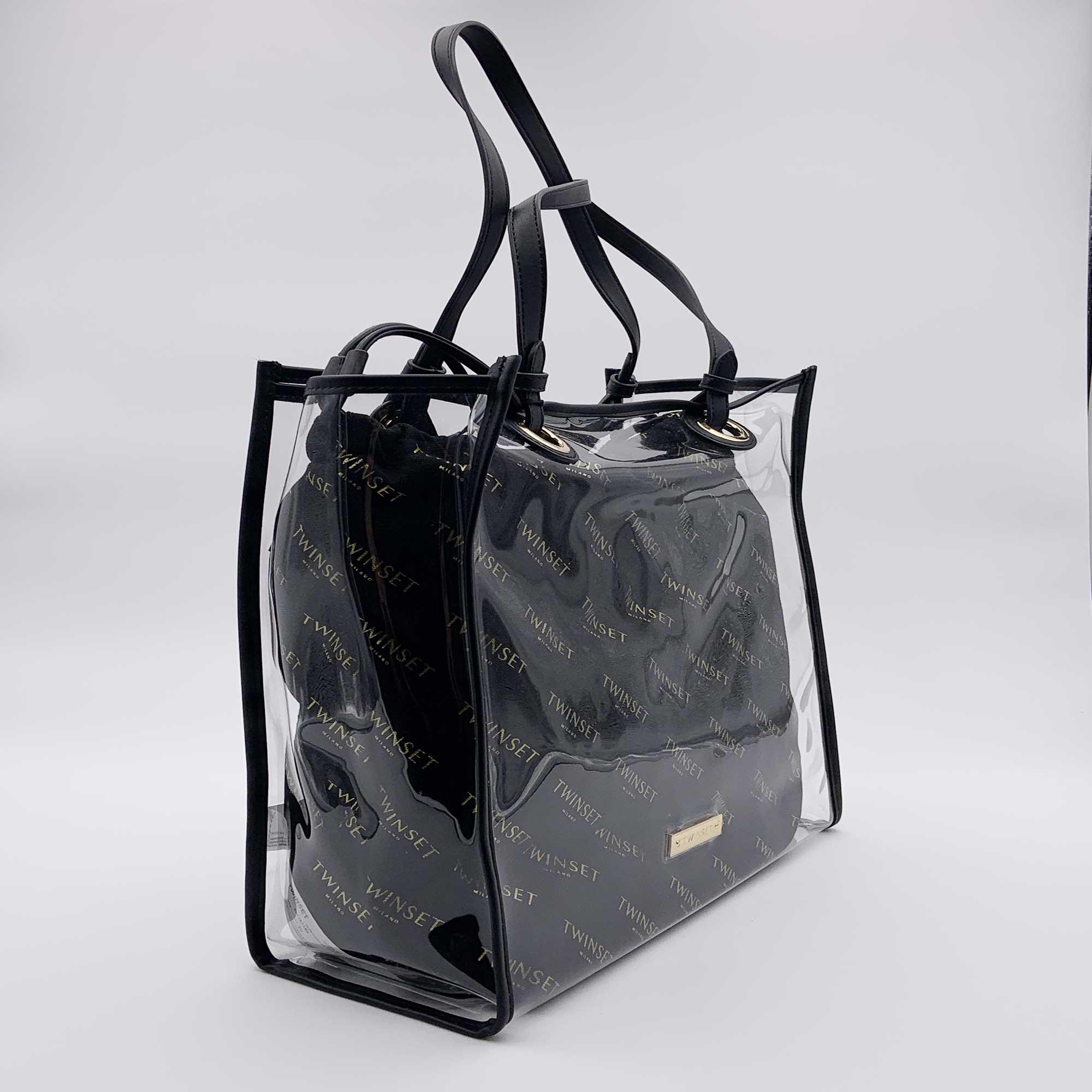 Borsa shopper con sacca logata - Nero