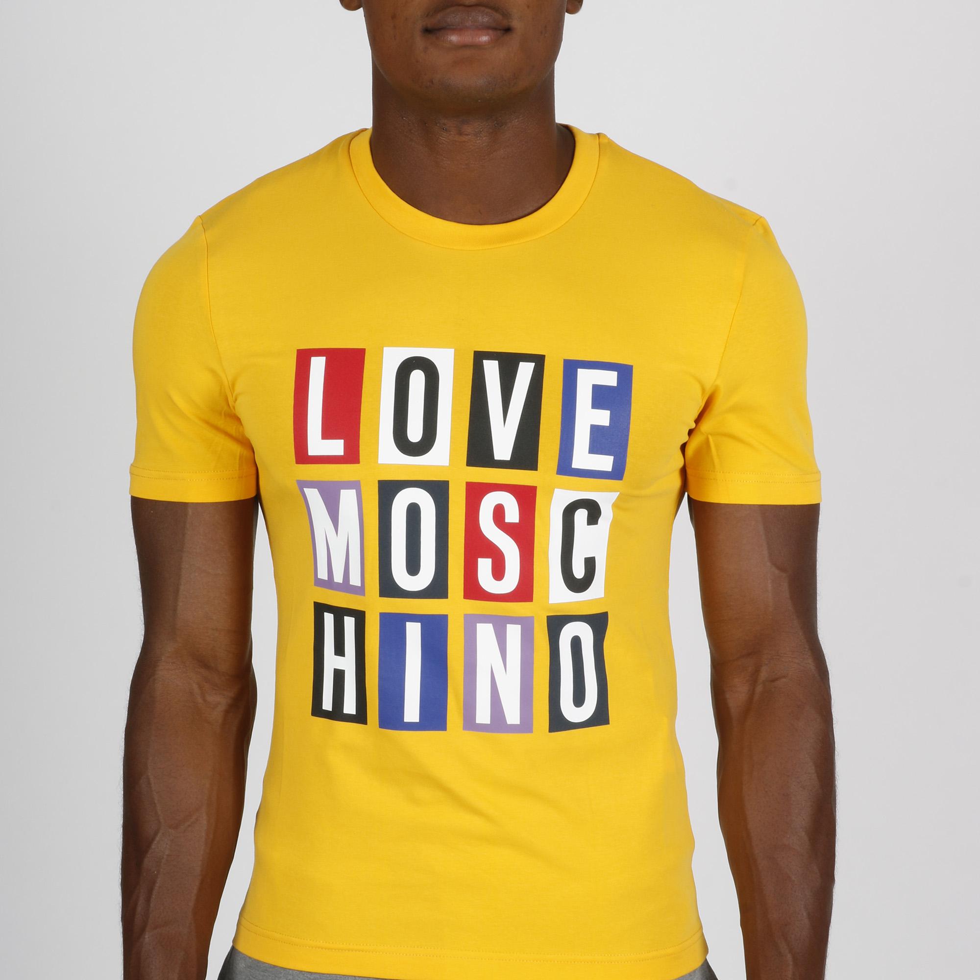 T-shirt logo quadri - Giallo