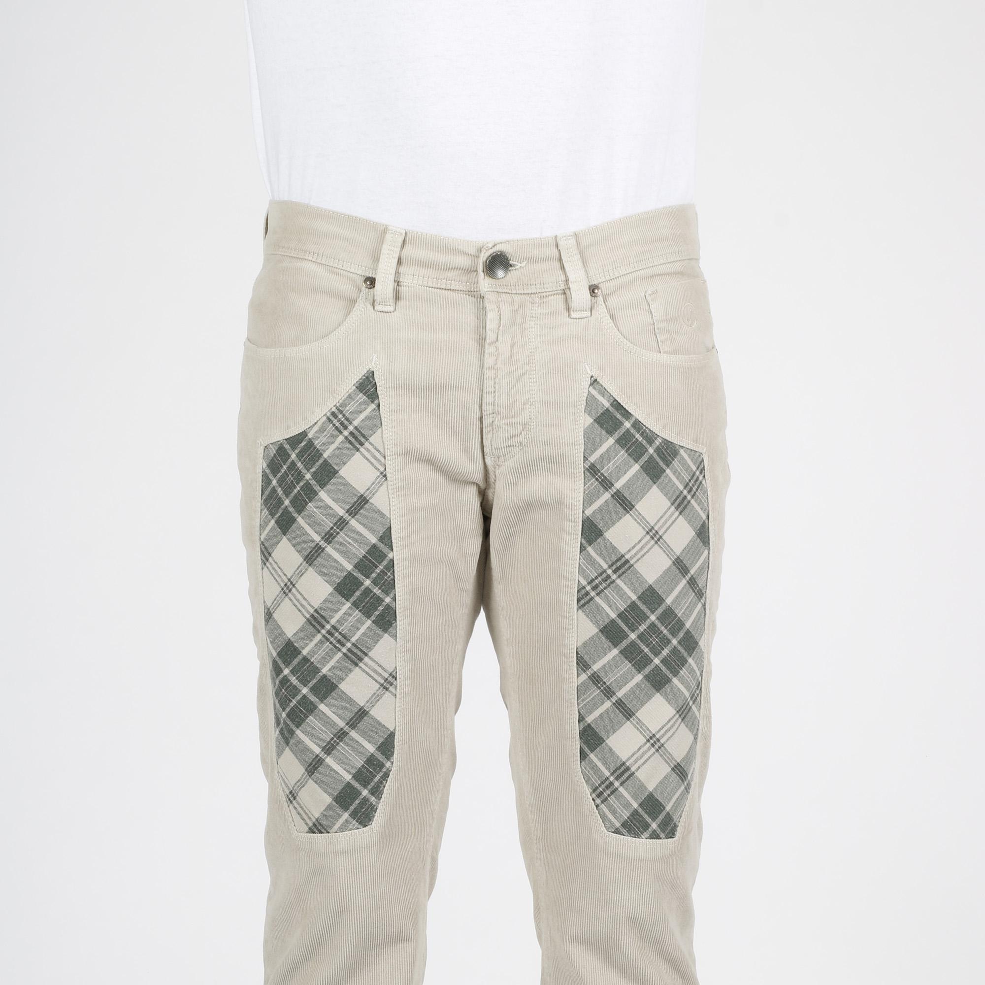 Pantalone toppa check - Beige