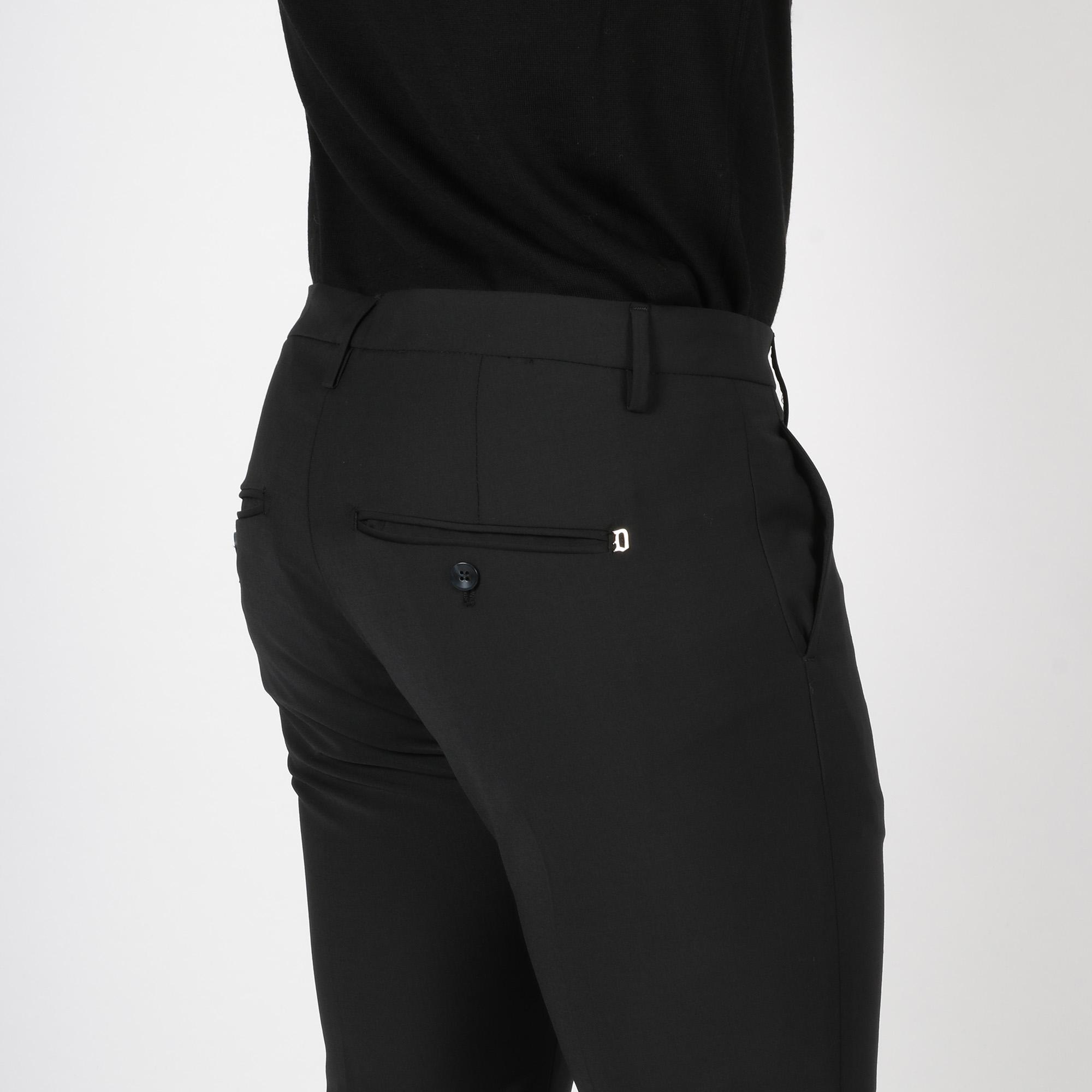 Pantalone gaubert fresco di lana - Nero