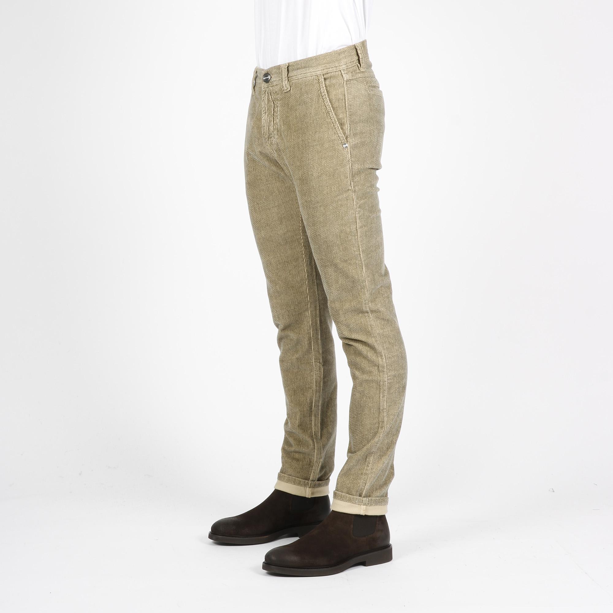 Pantalone draw velluto - Ecru