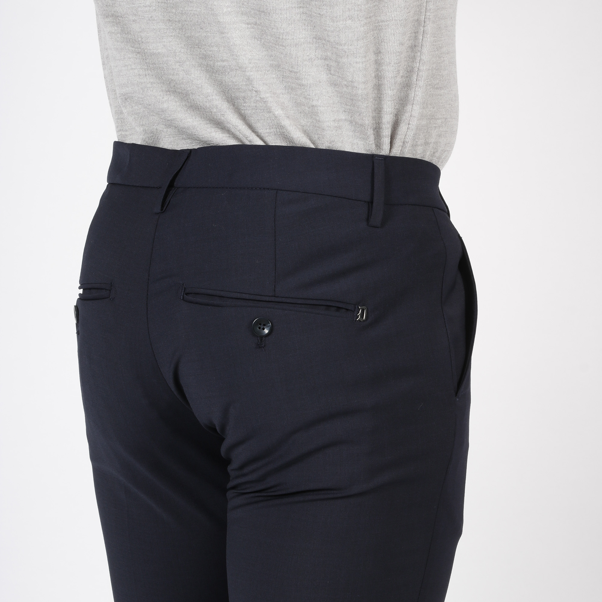 Pantalone gaubert fresco di lana - Blu scuro
