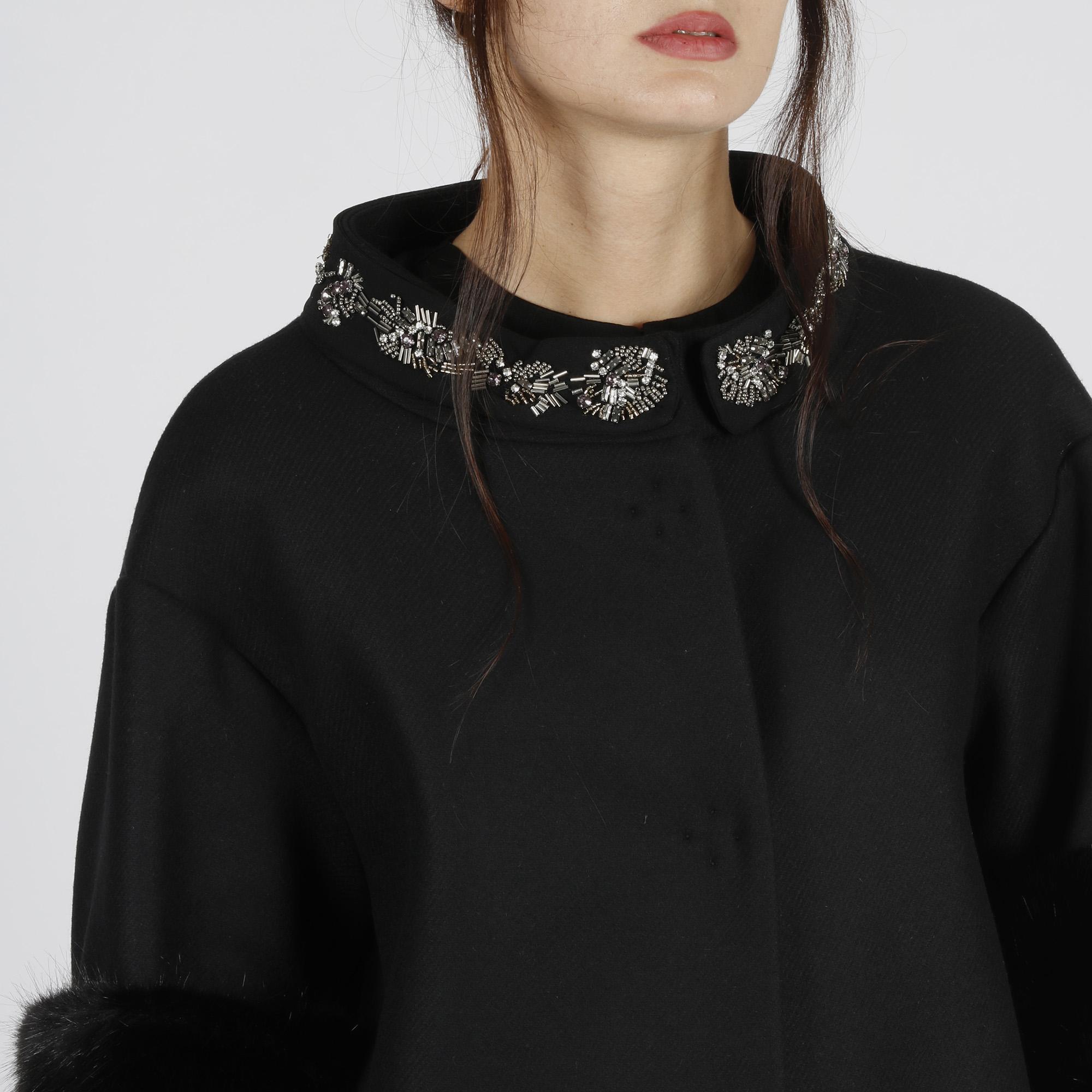 Cappotto applicazioni collo - Nero