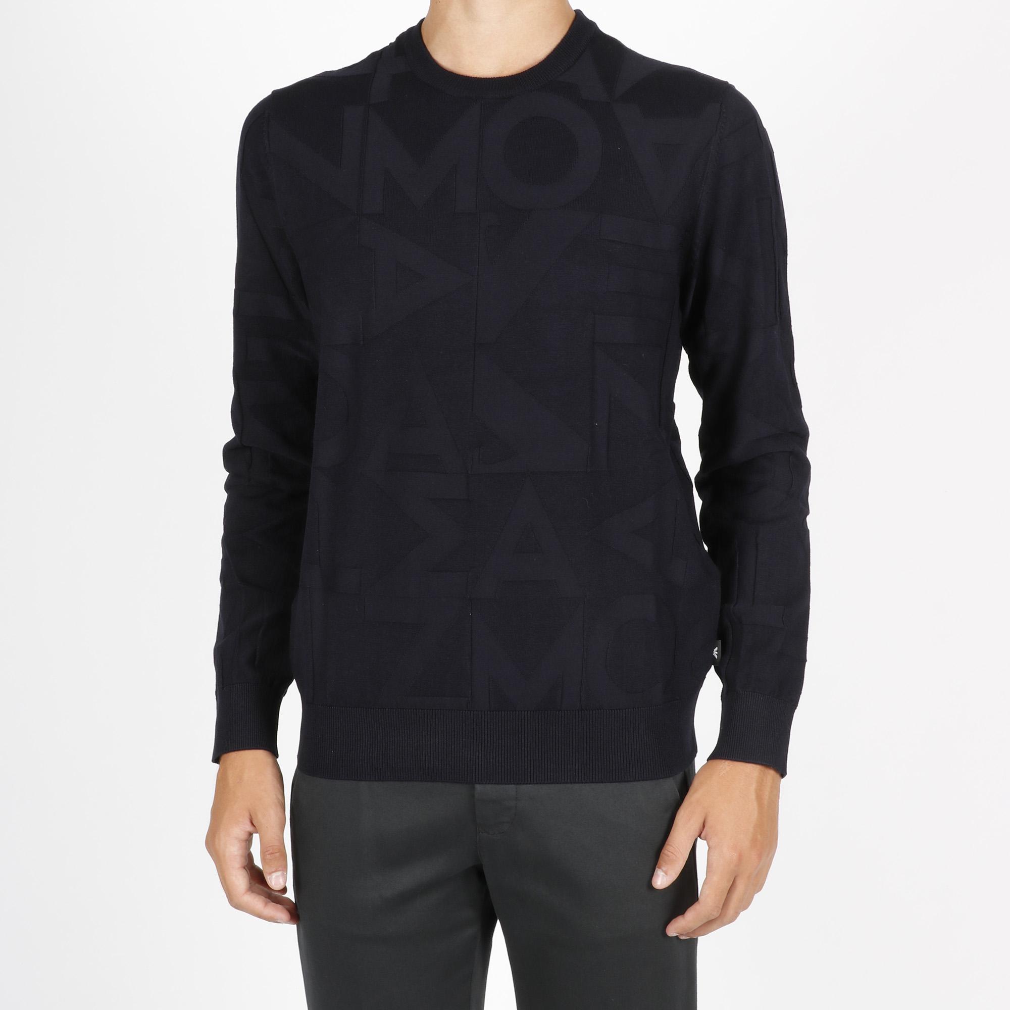 Pullover con intarsio - Blu navy