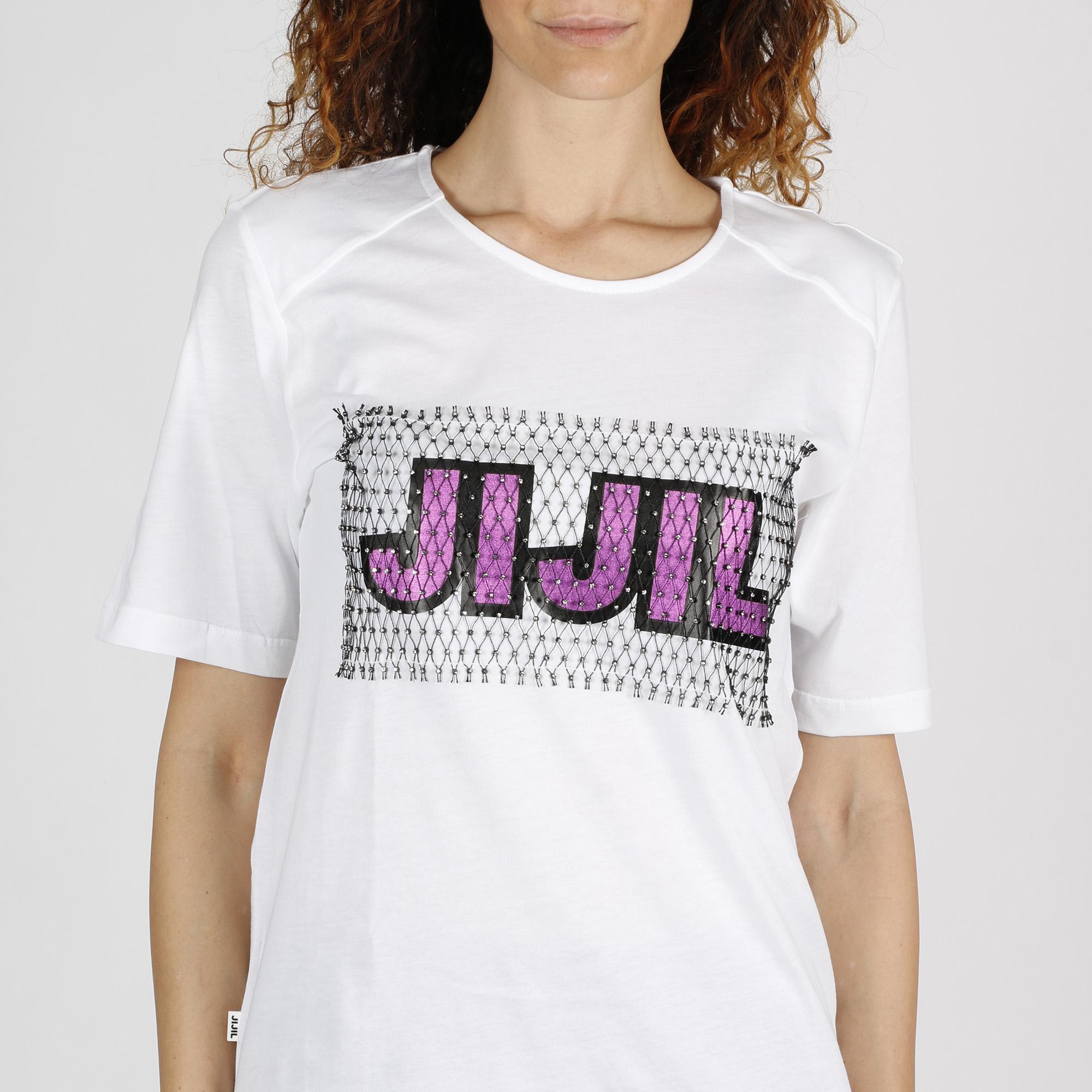 T-shirt logo rete e strass - Bianco