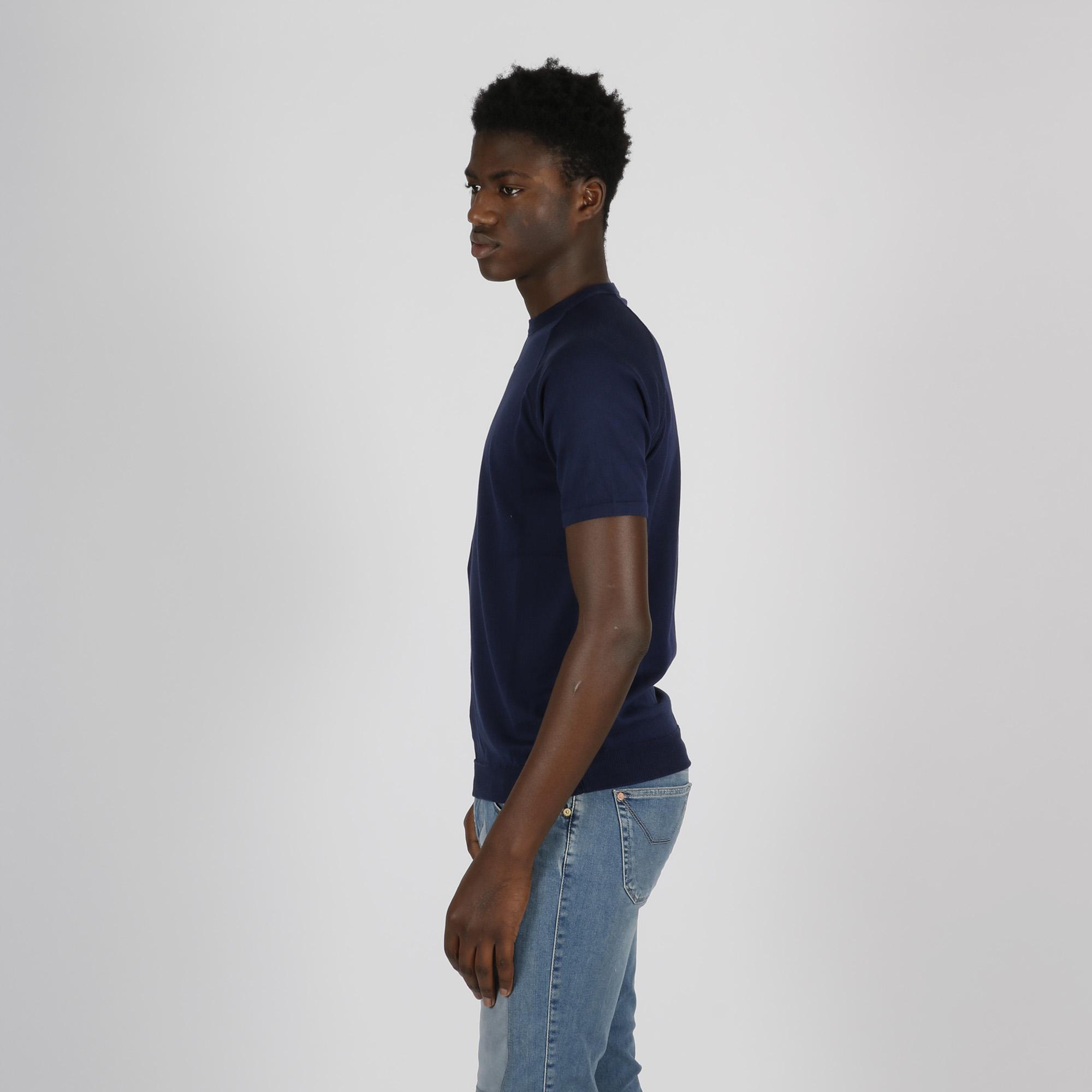 T-shirt girocollo con impuntura - Blu