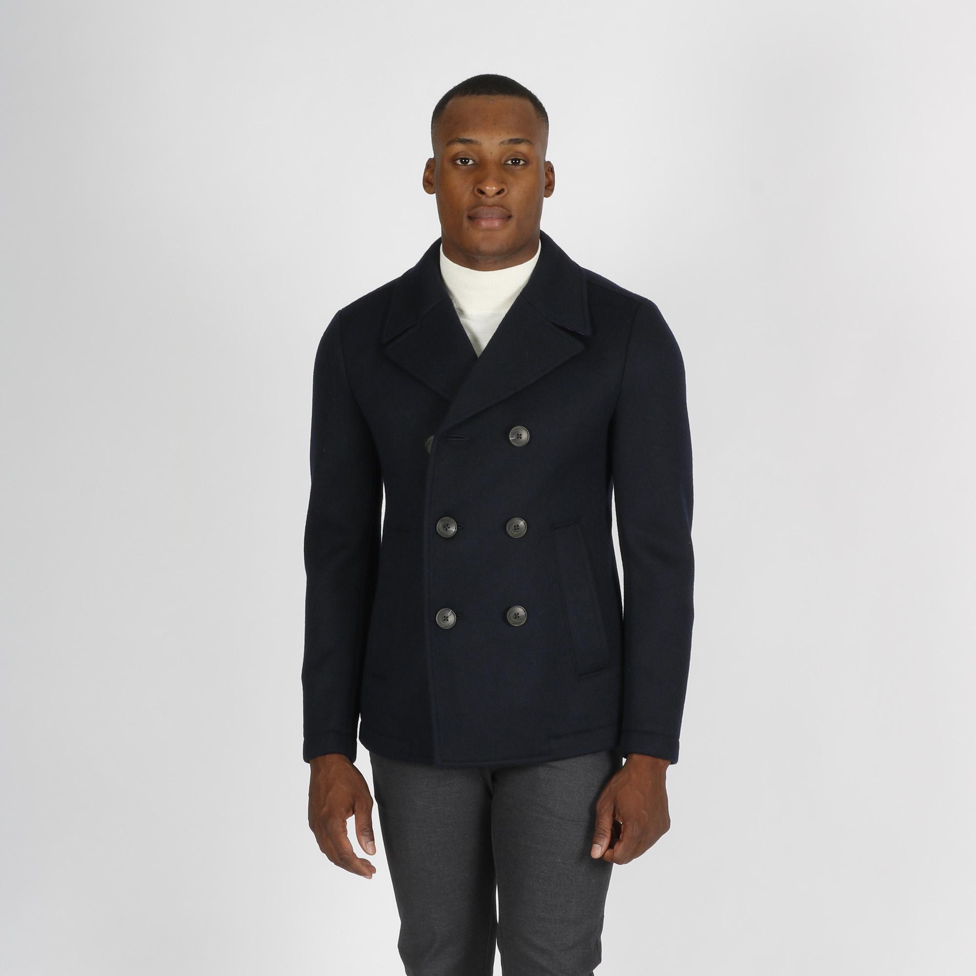 Cappotto corto doppiopetto - Blu scuro