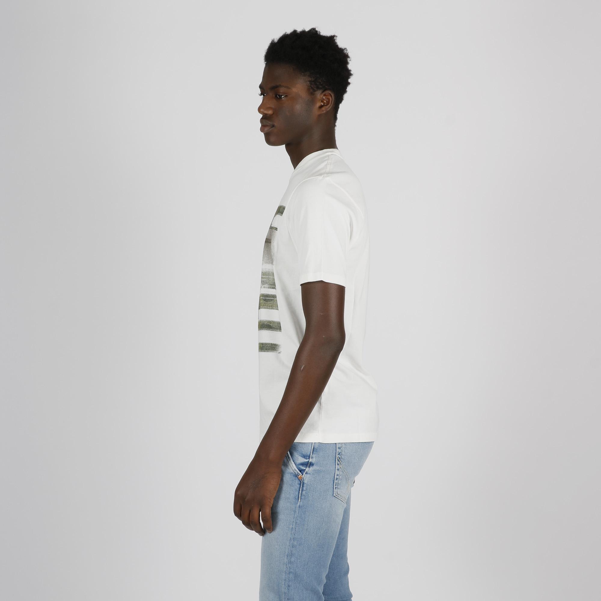 T-shirt stampa pittura e logo - Bianco