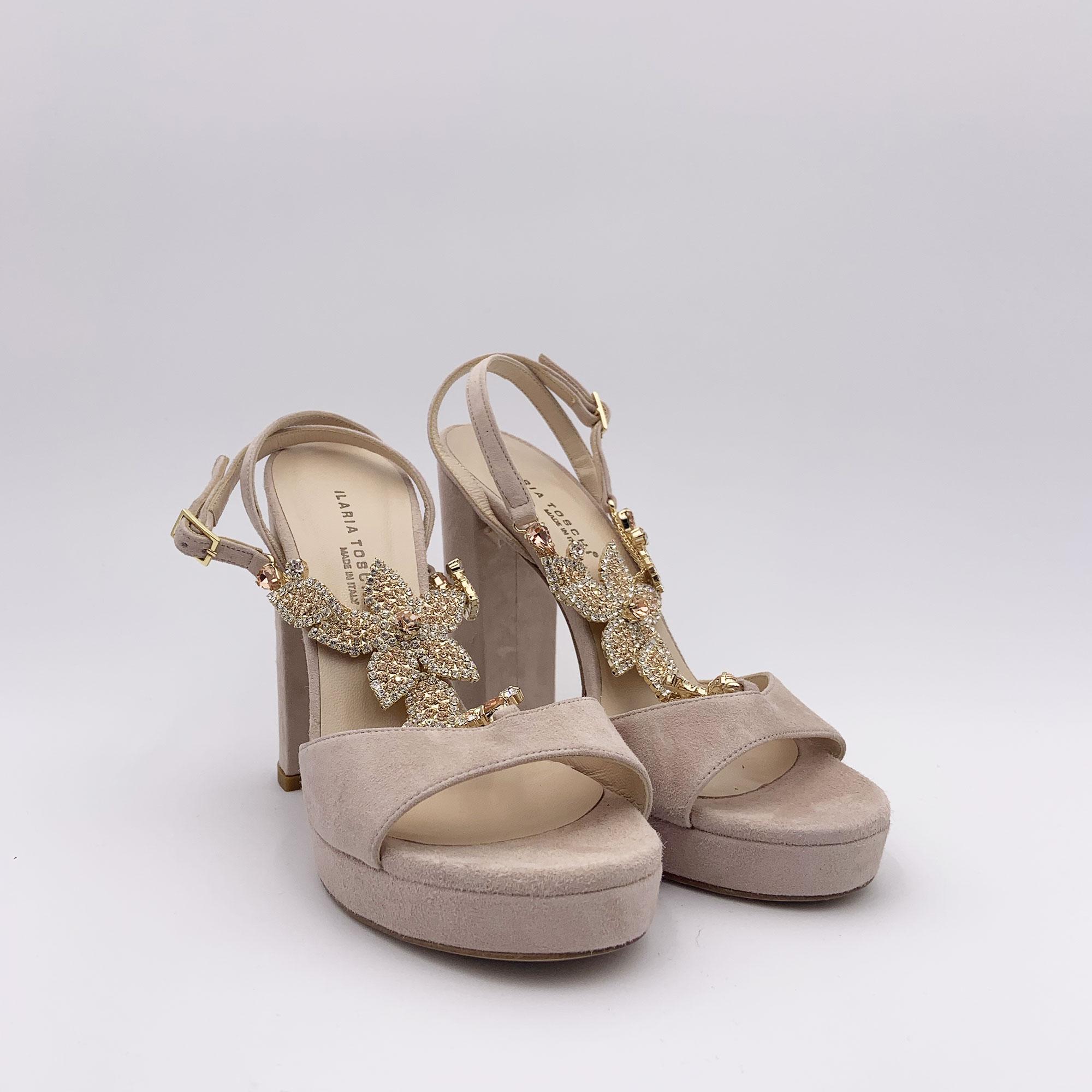 Sandalo aplicazione gioiello - Cipria