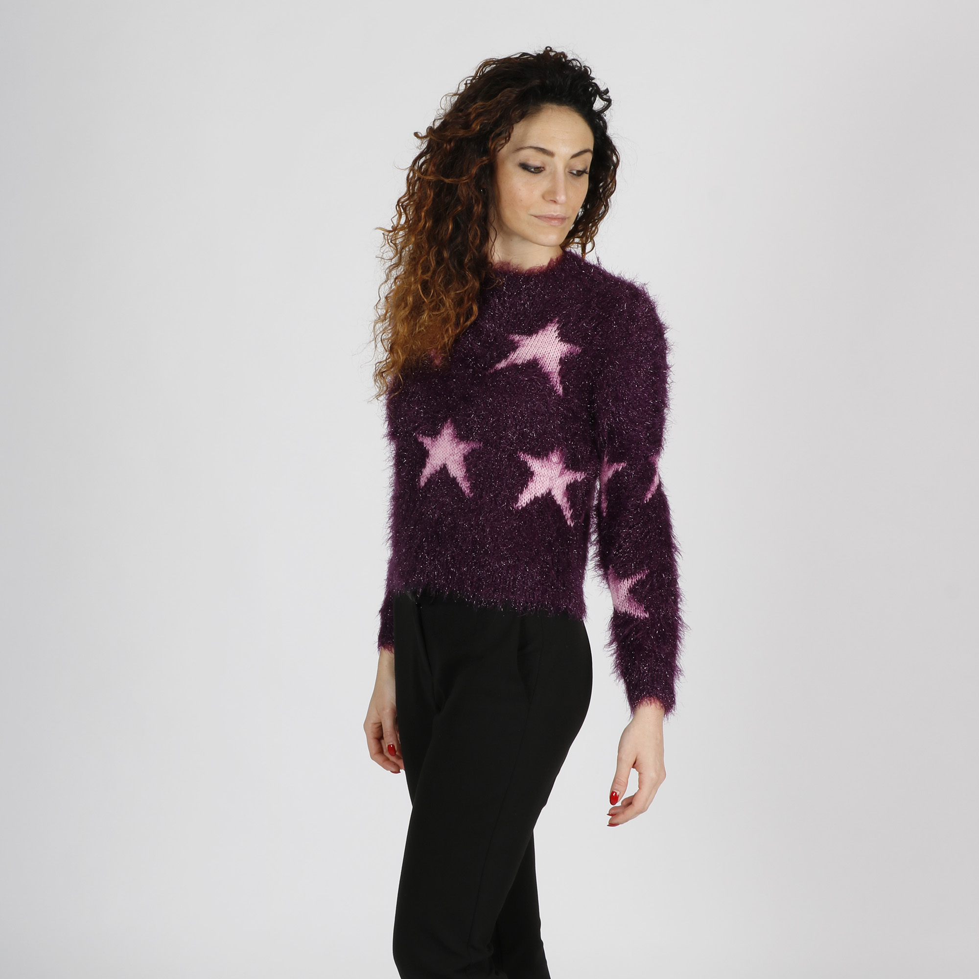 Maglia stelle effetto pelo - Viola