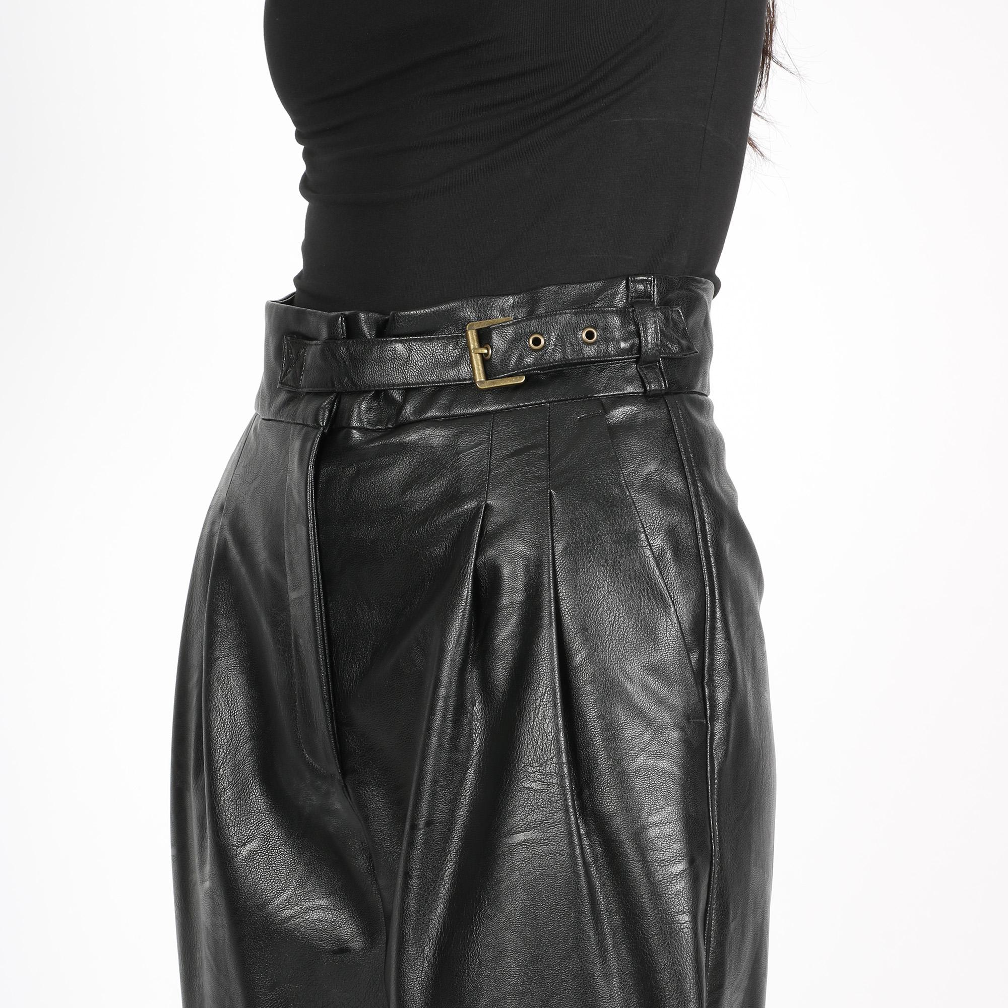 Pantalone pelle wide - Nero