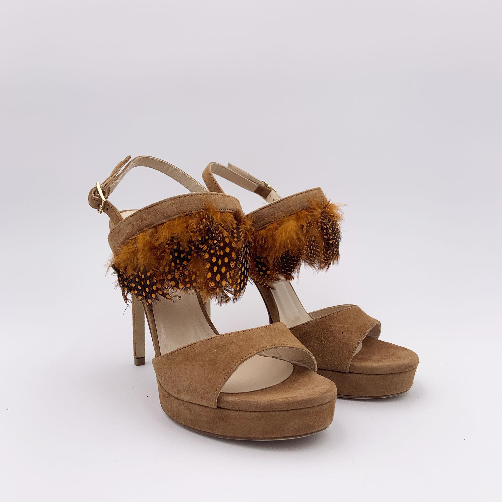 Sandalo tacco piume - Cognac