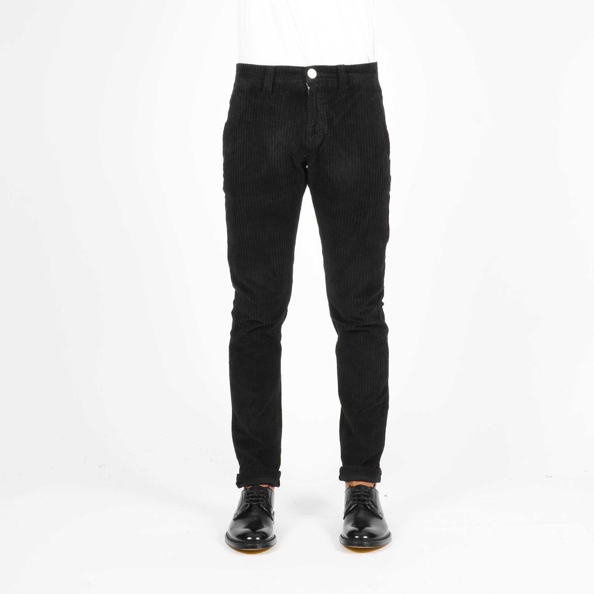 Pantalone draw velluto roccia - Nero