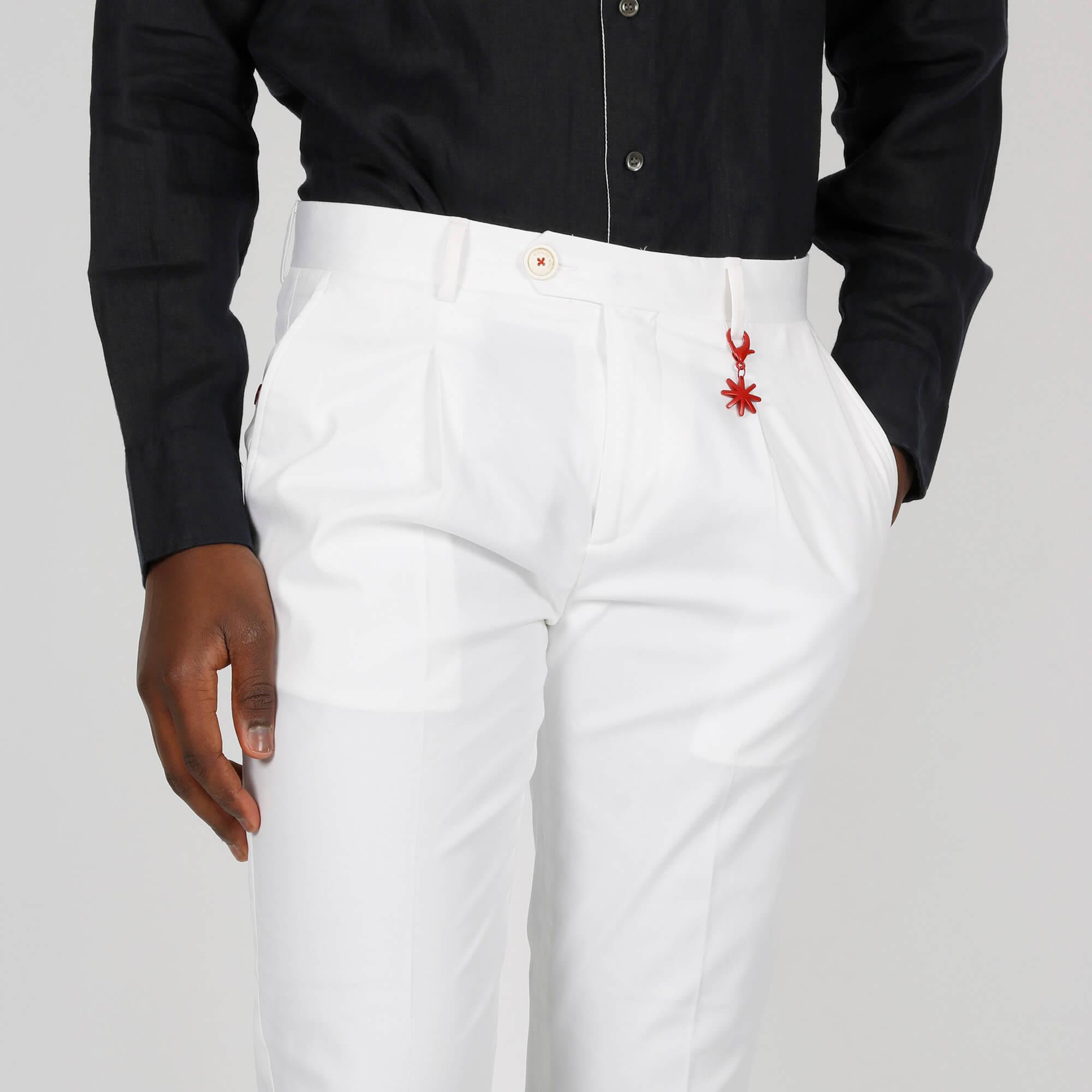 Pantalone tasca america con pences - Bianco
