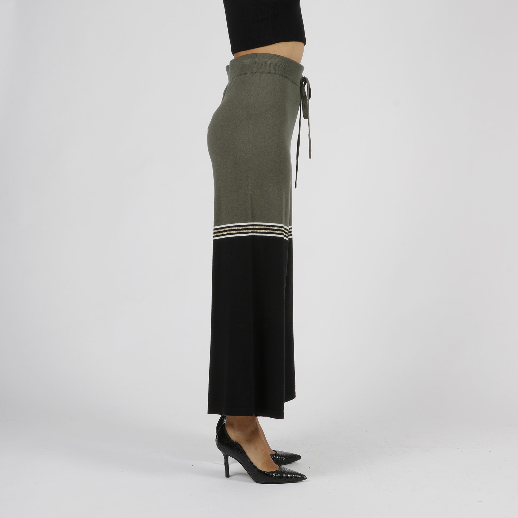 Pantalone maglia bicolor - Verde/ nero