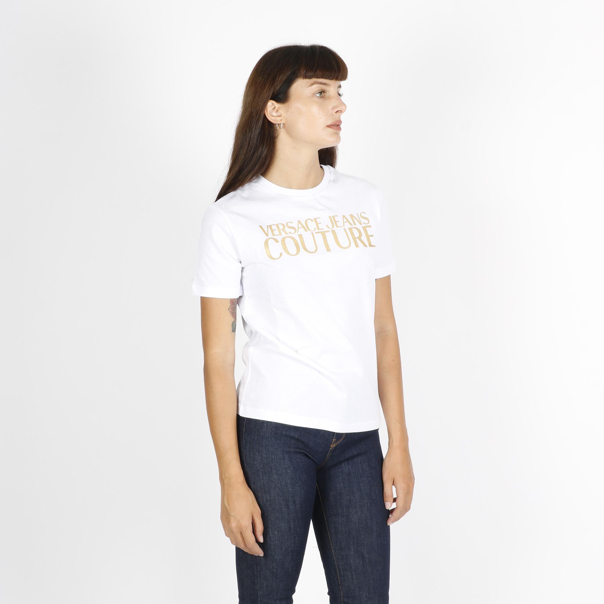 T-shirt logo oro -  Bianco