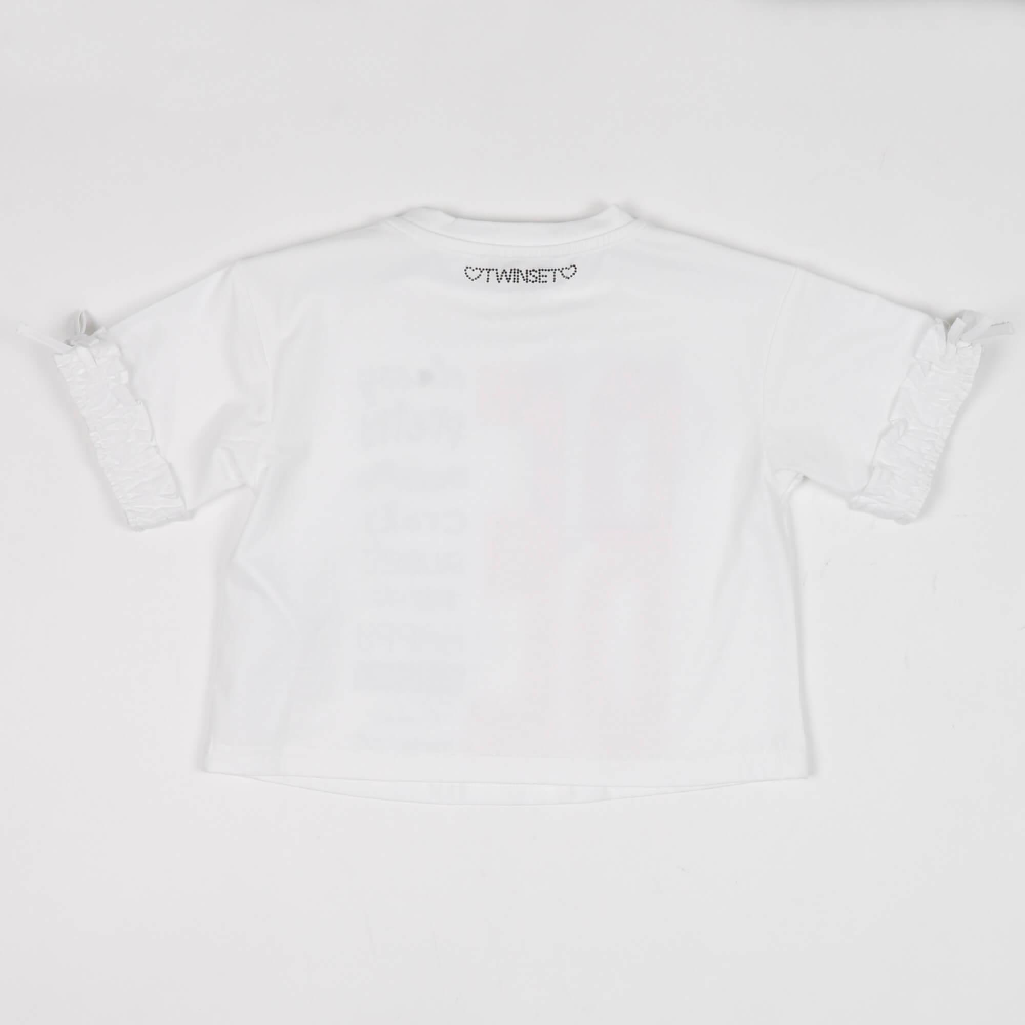 Crop t-shirt stampa lilium - Bianco