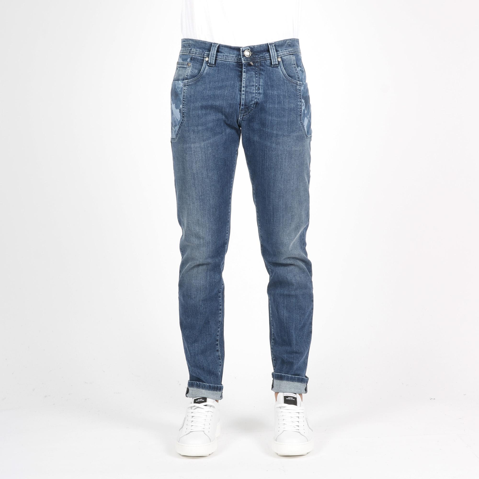 Jeans towel alcantara - Camouflage blu