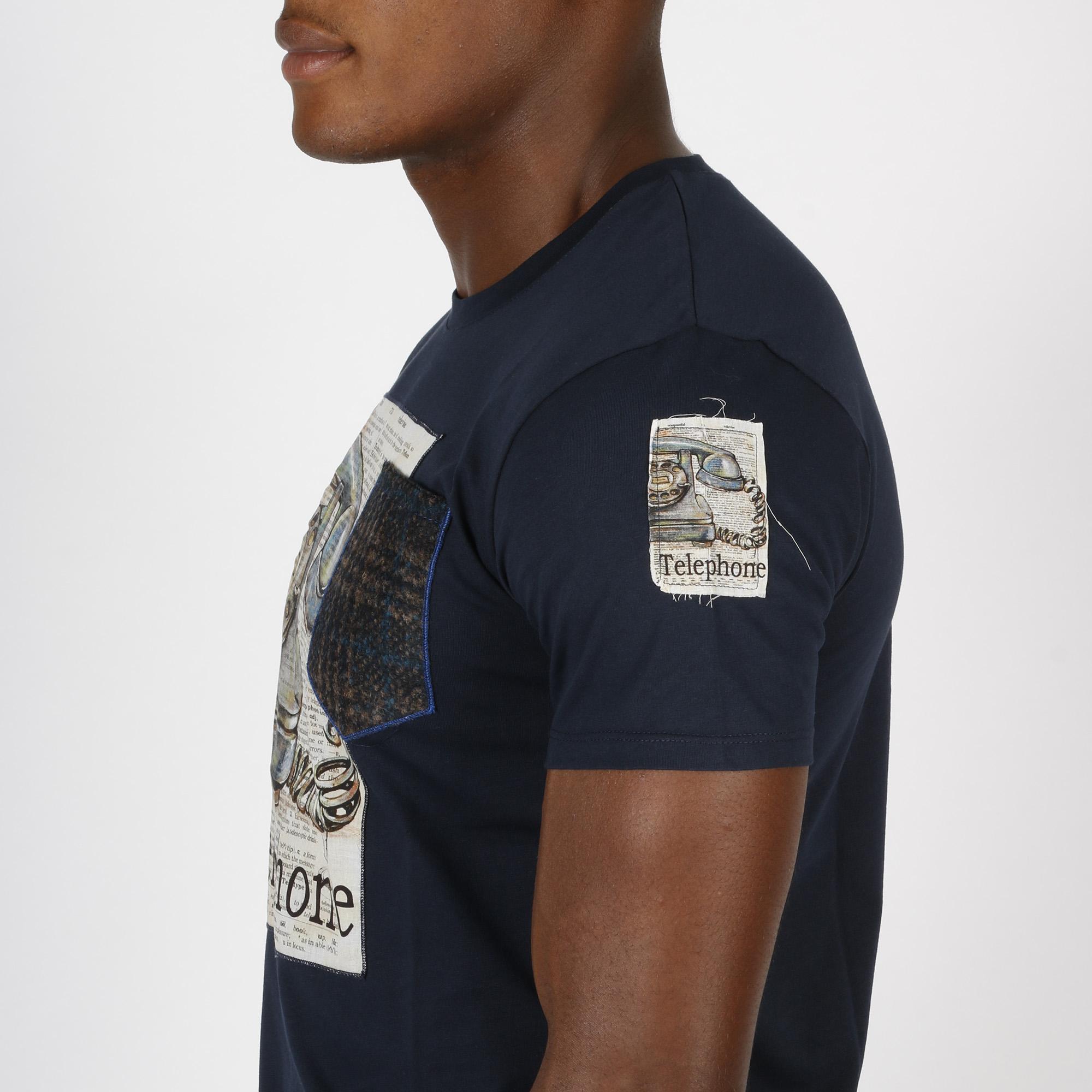 T-shirt telephone -  Blu