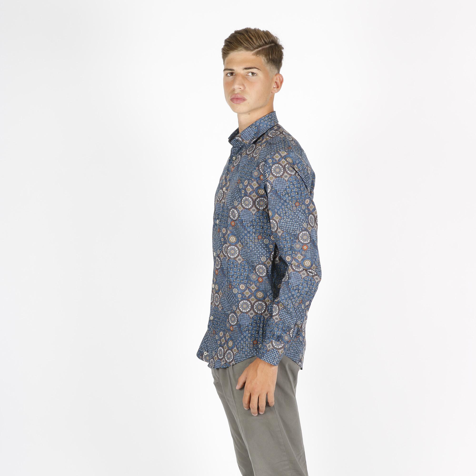 Camicia fantasia etnica - Blu