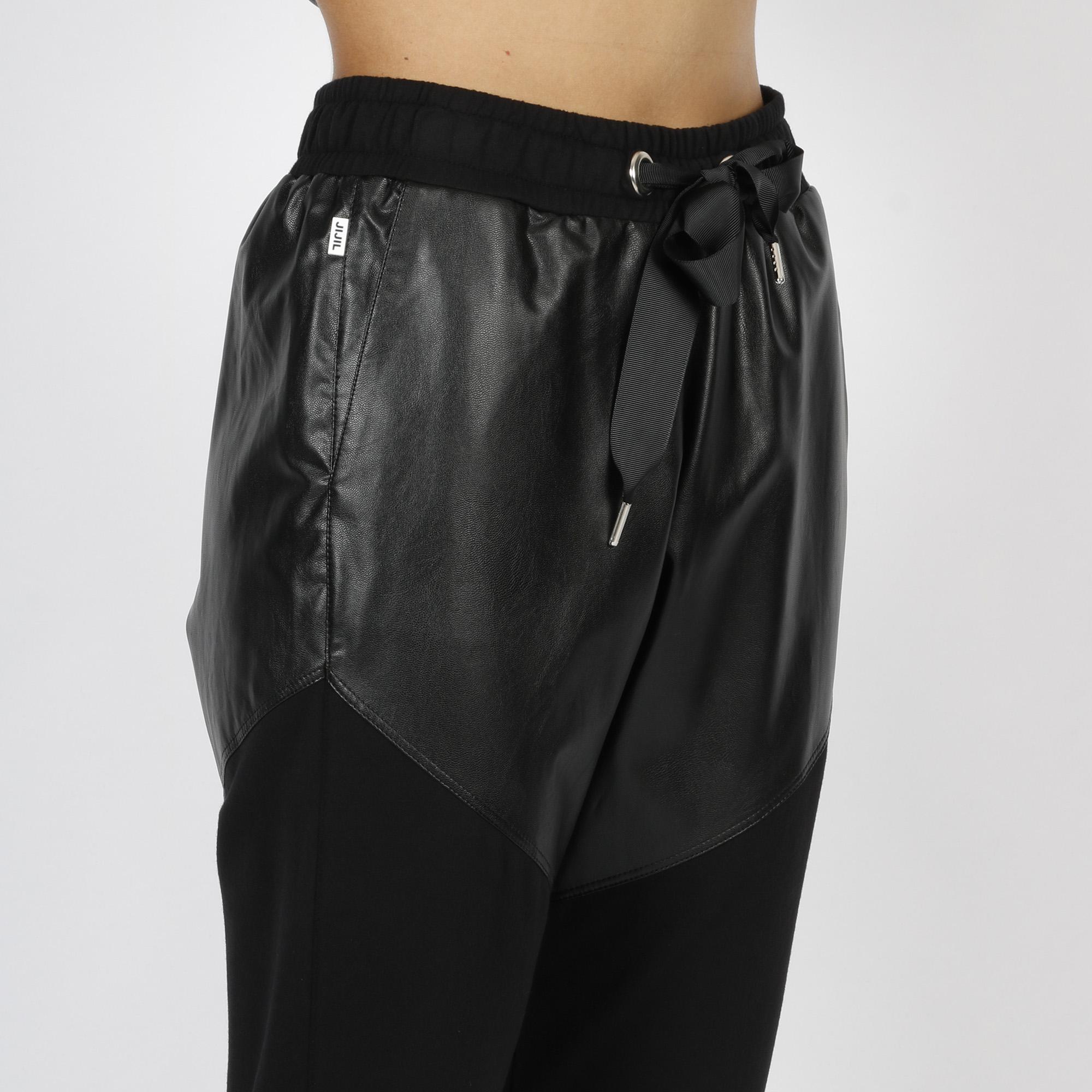Pantalone felpa ed ecopelle - Nero