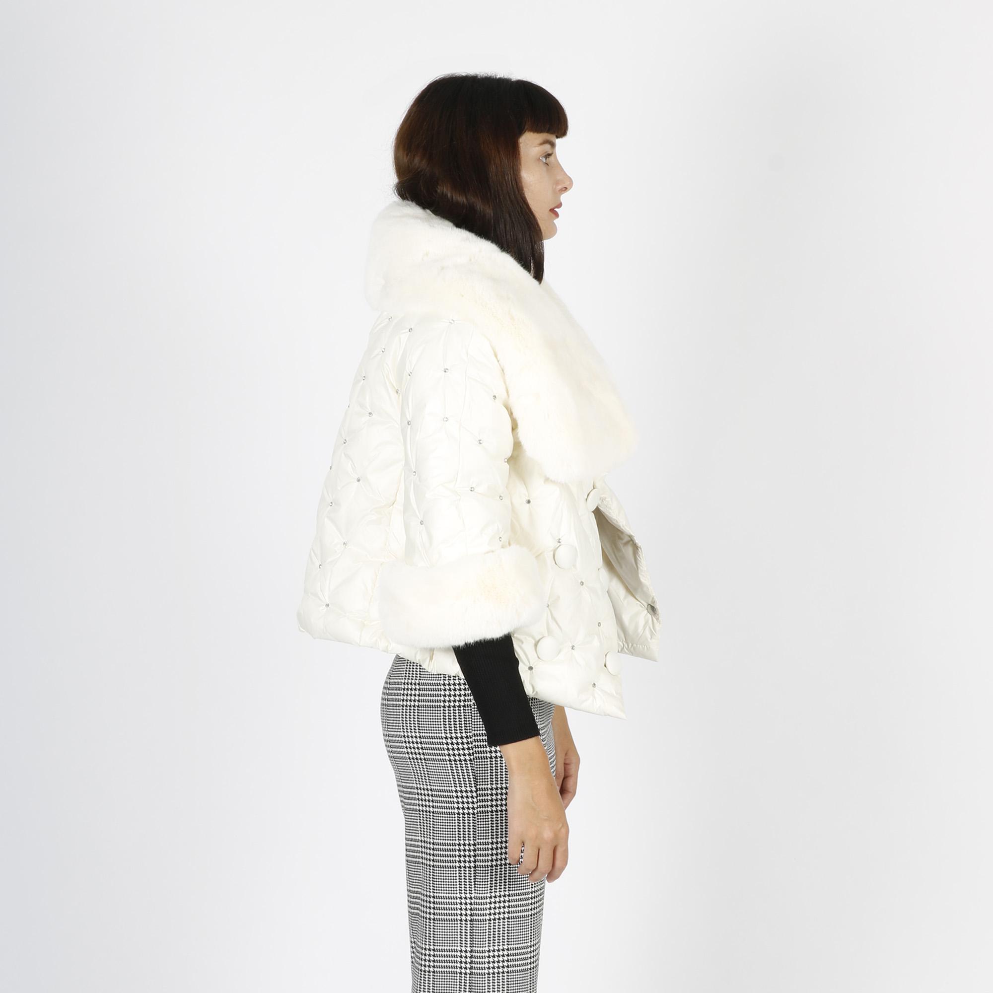 Cappa gioiello con pelliccia - Panna