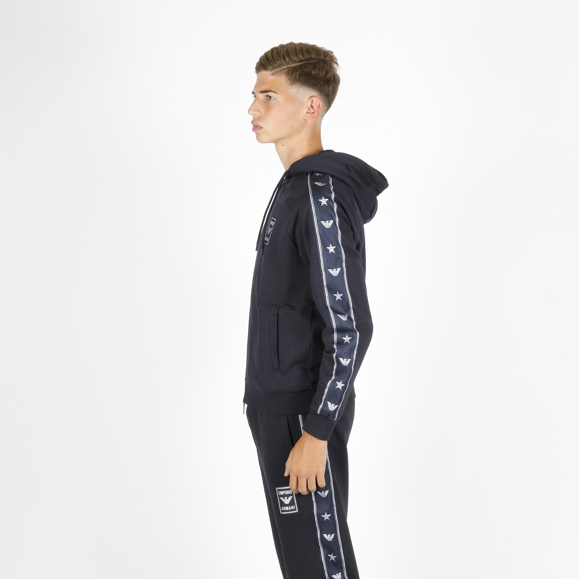 Felpa banda laterale logo - Blu/silver