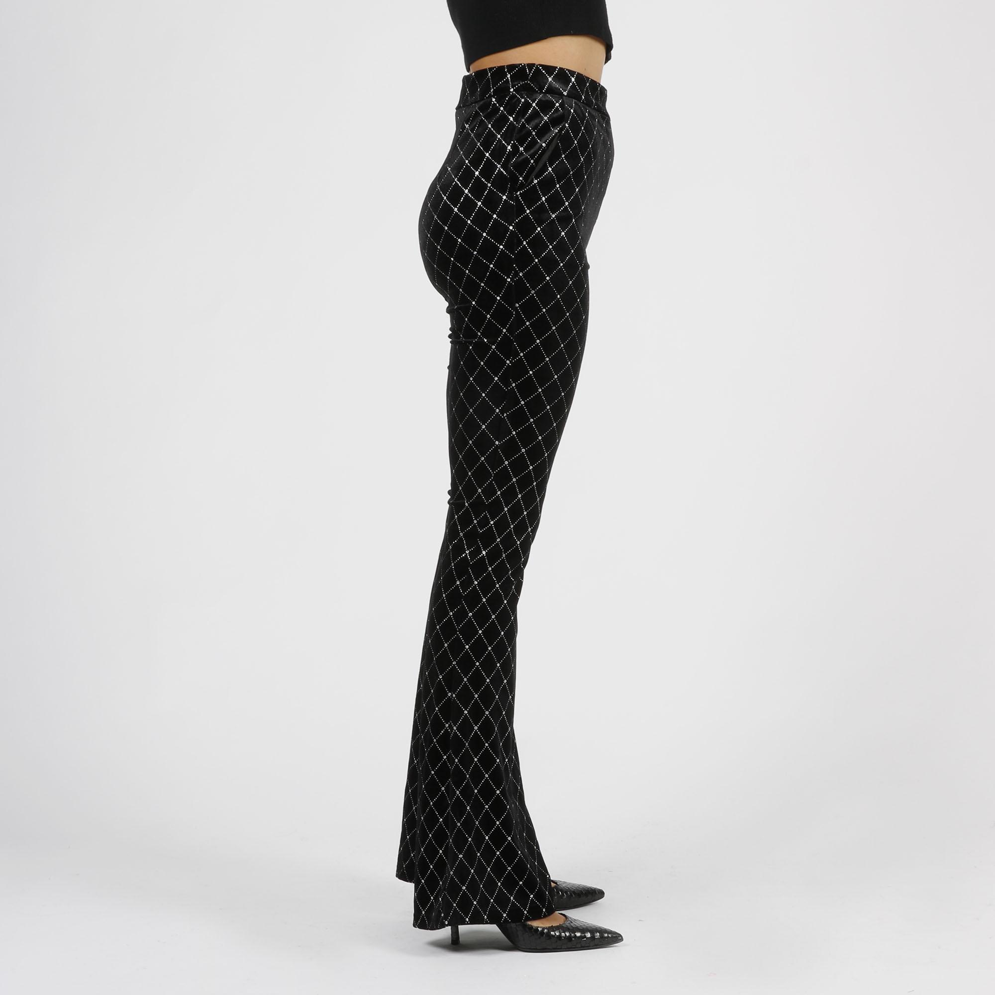 Pantalone rombi strass - Nero