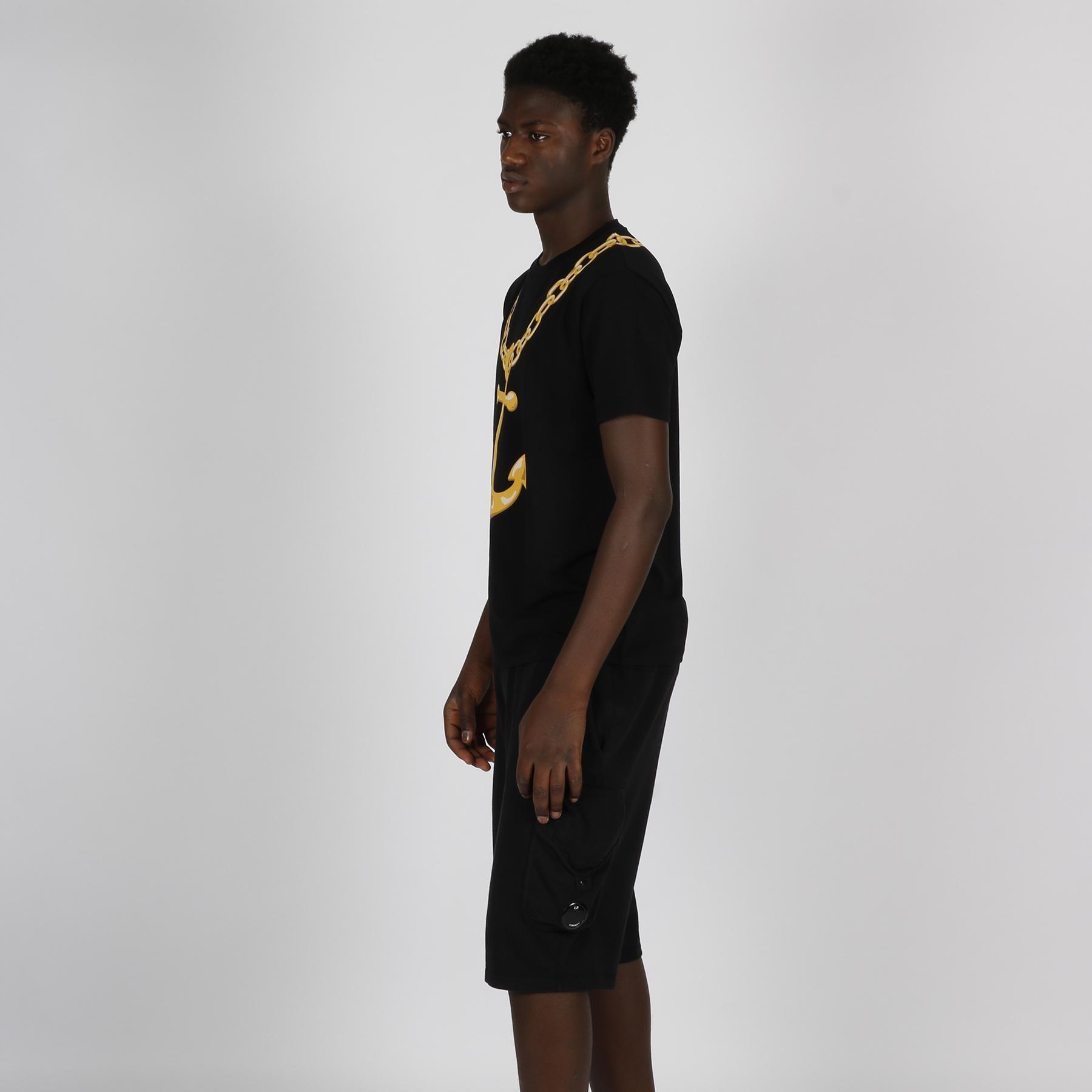T-shirt stampa catena - Nero