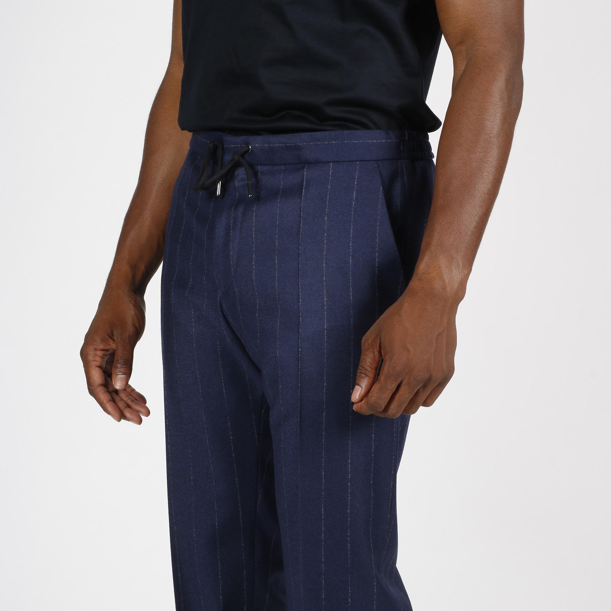 Pantalone gessato - Blu scuro