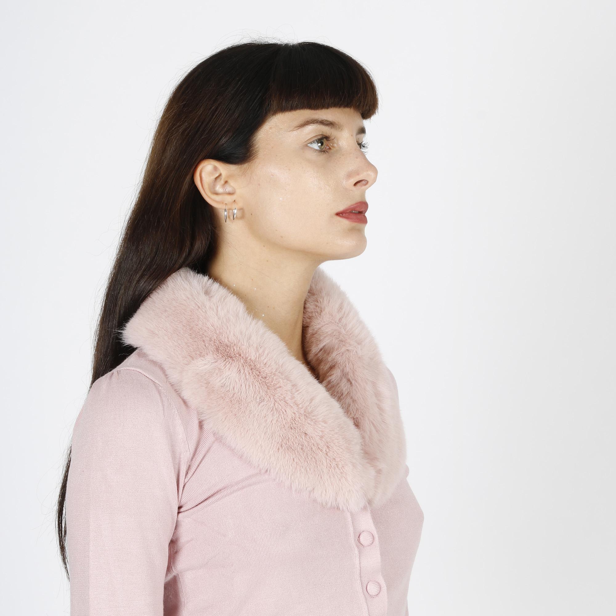 Cardigan collo pelliccia - Rosa