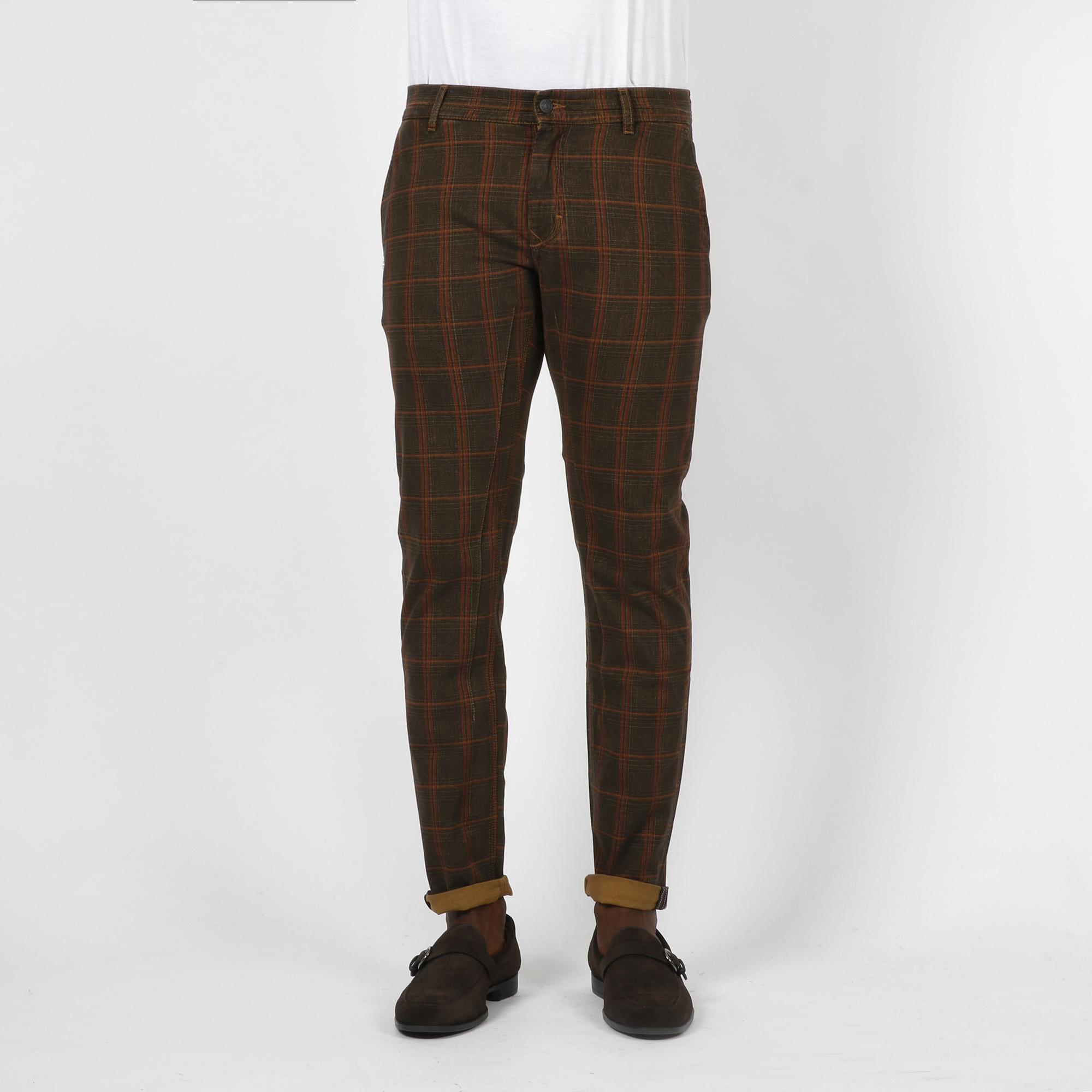 Pantalone quadro check - Cammello