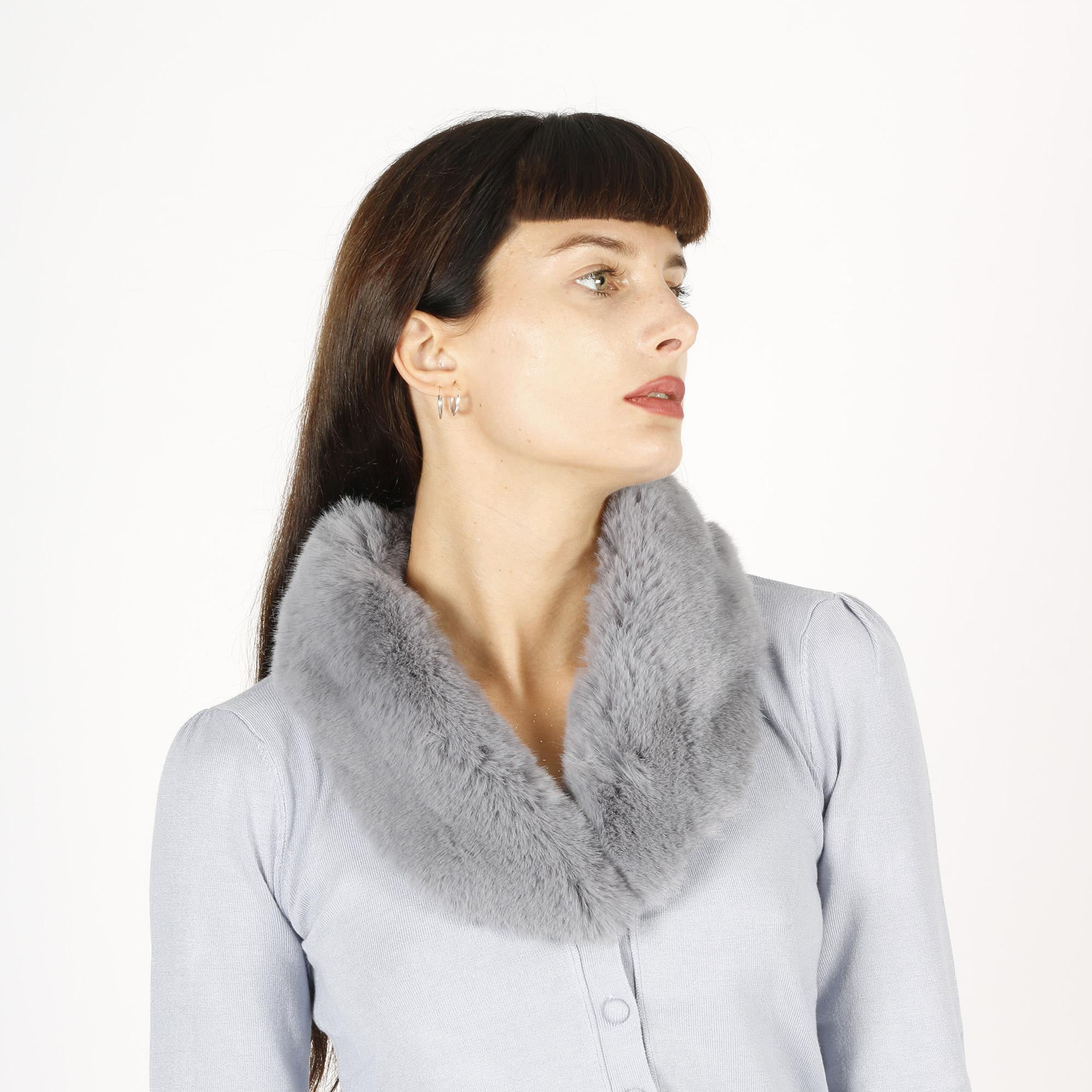 Cardigan collo pelliccia - Azzurro
