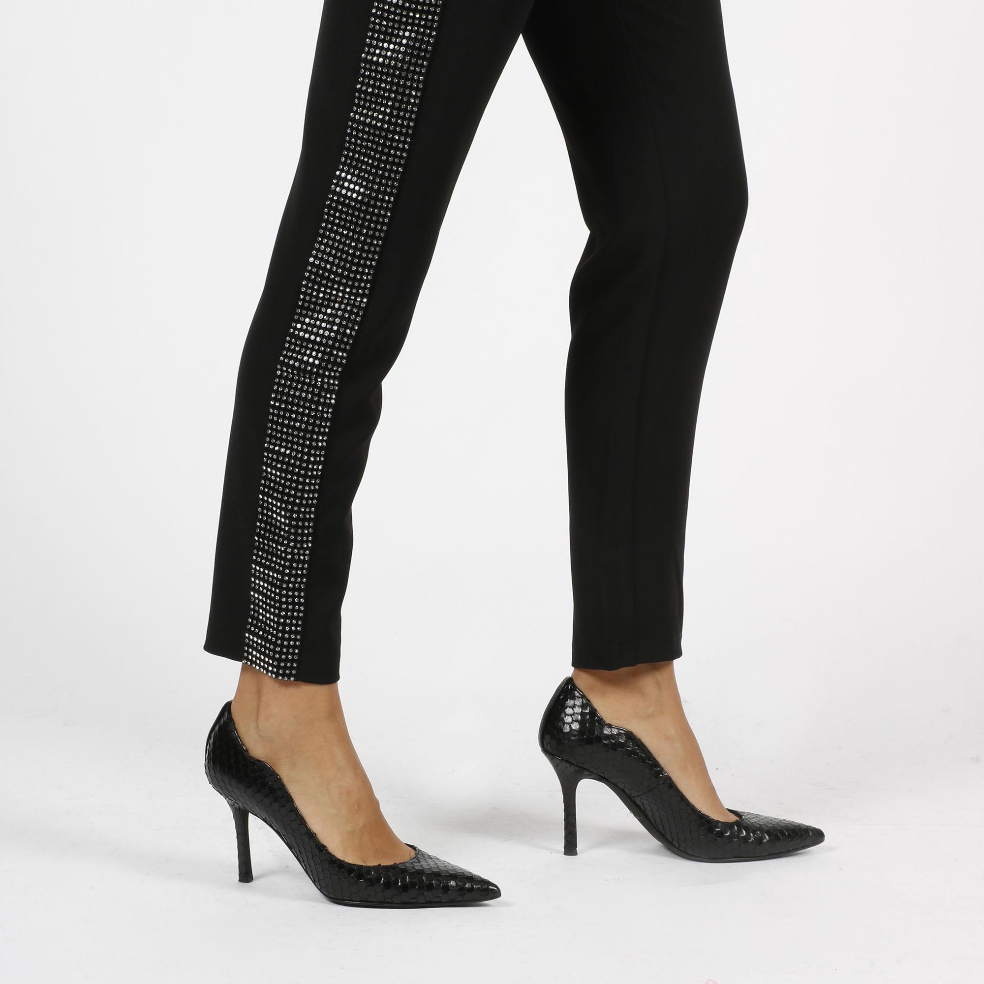 Pantalone banda strass - Nero