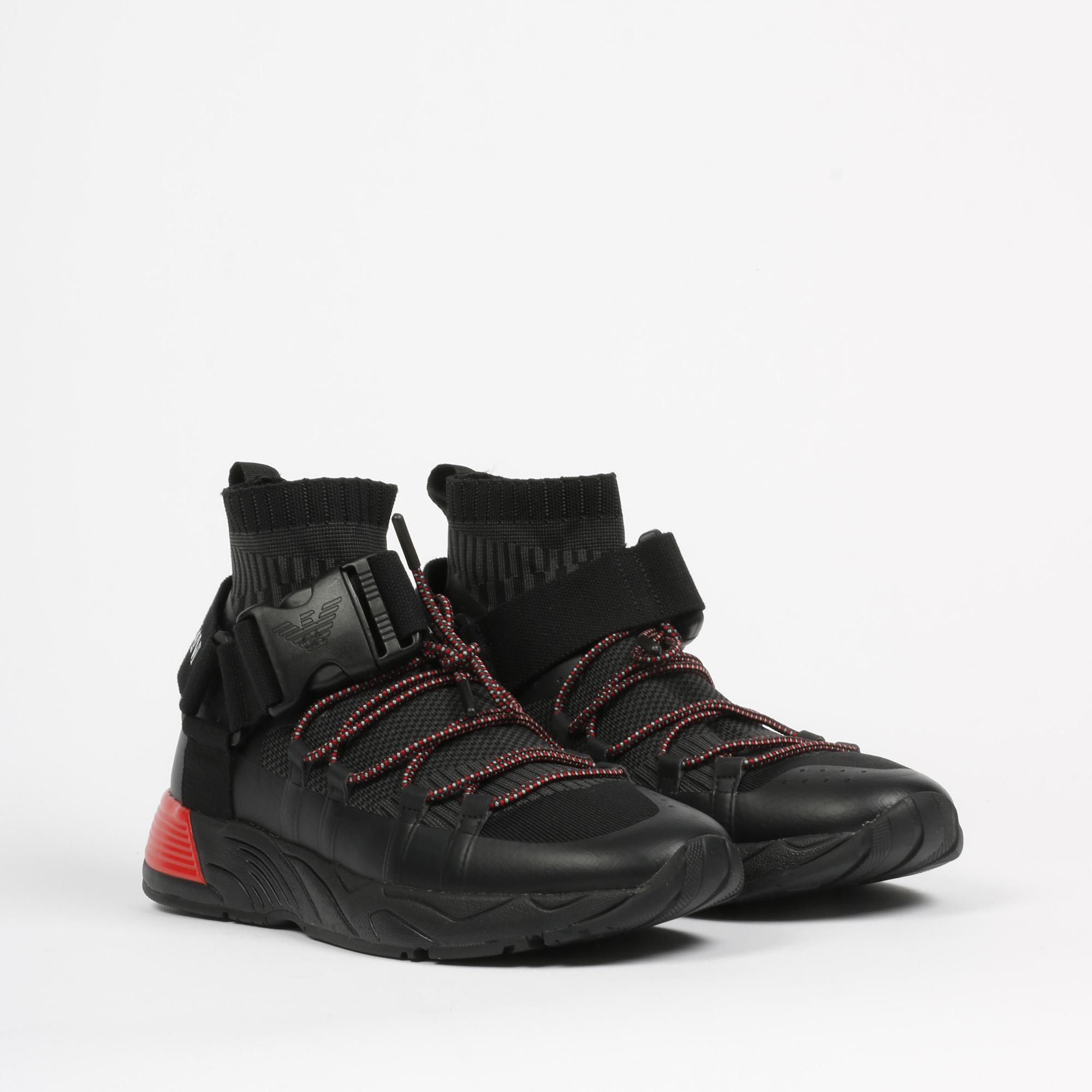Sneaker buckle-embellished - Nero