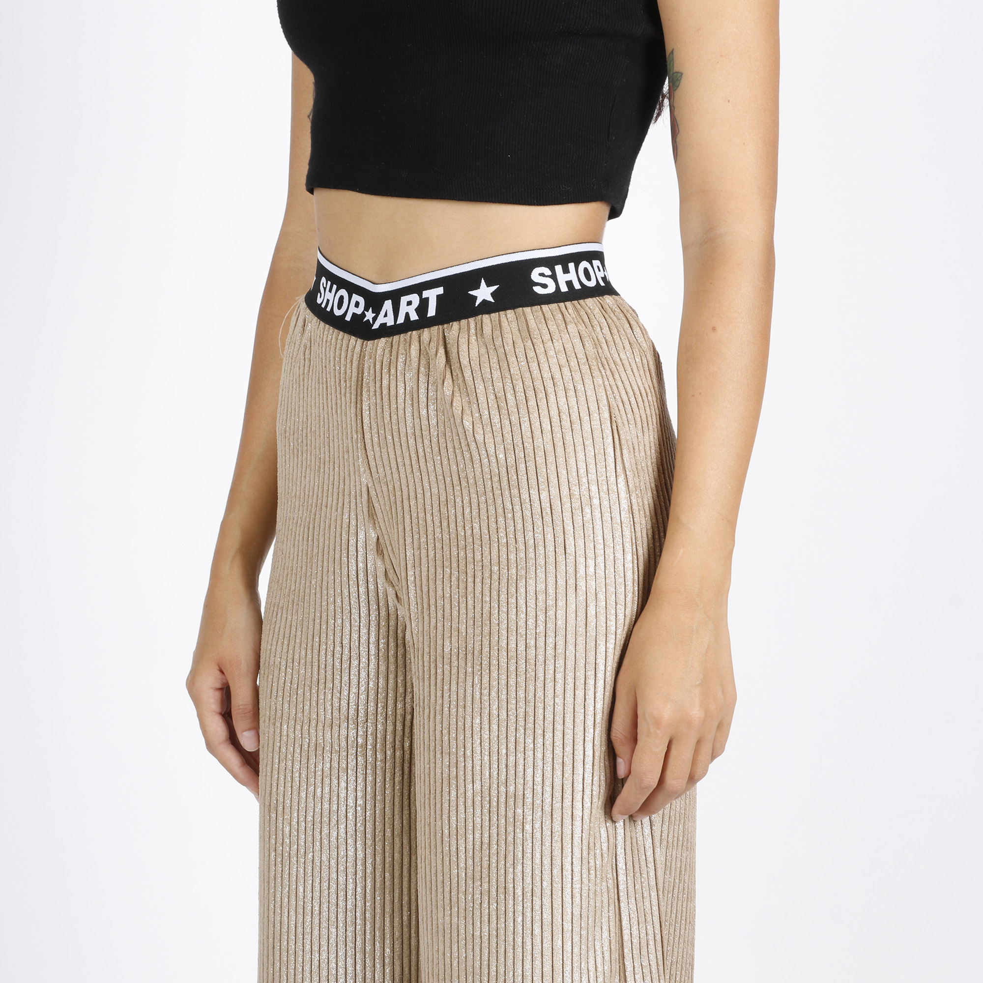 Pantalone donna velluto effetto lurex - Oro
