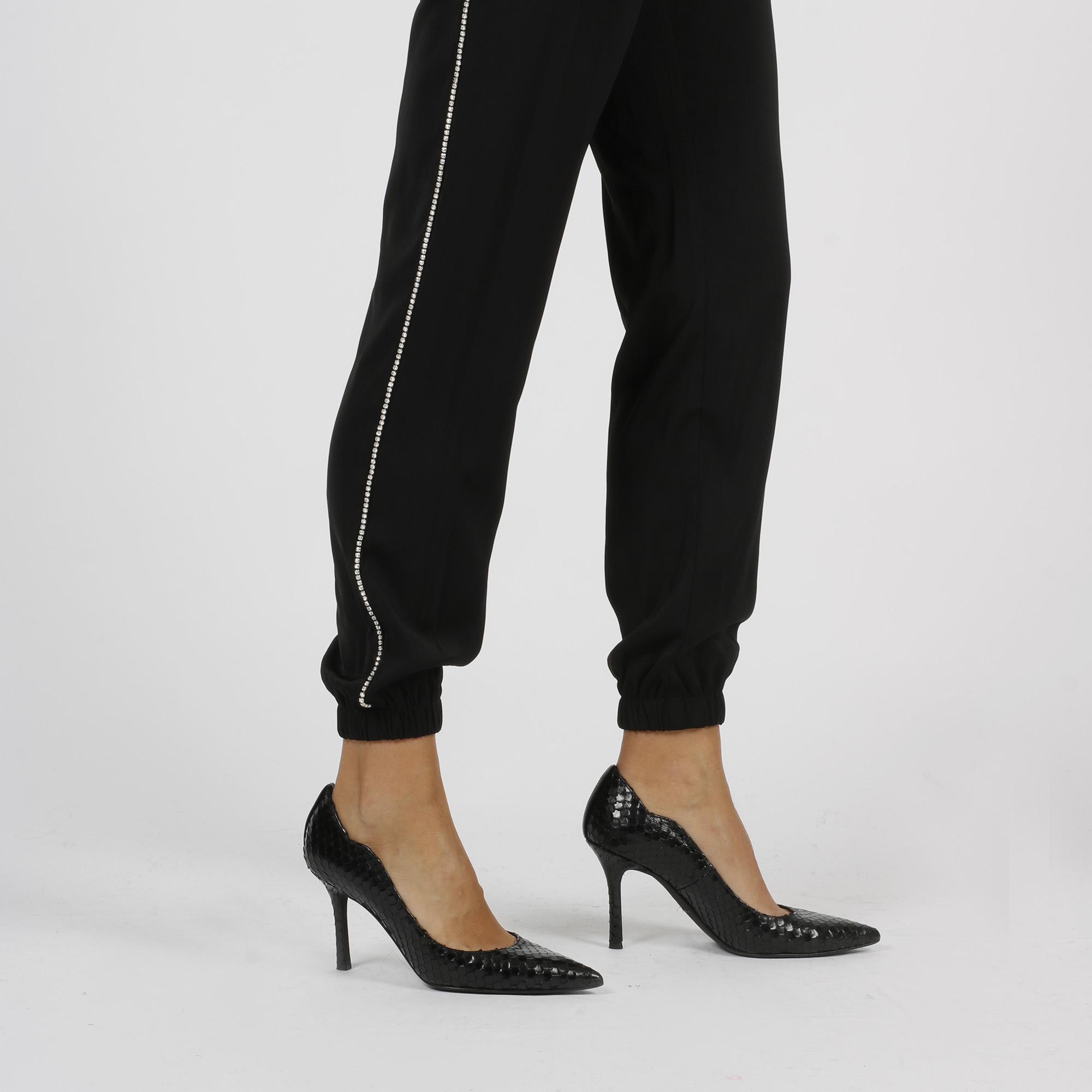 Pantalone banda laterale strass - Nero
