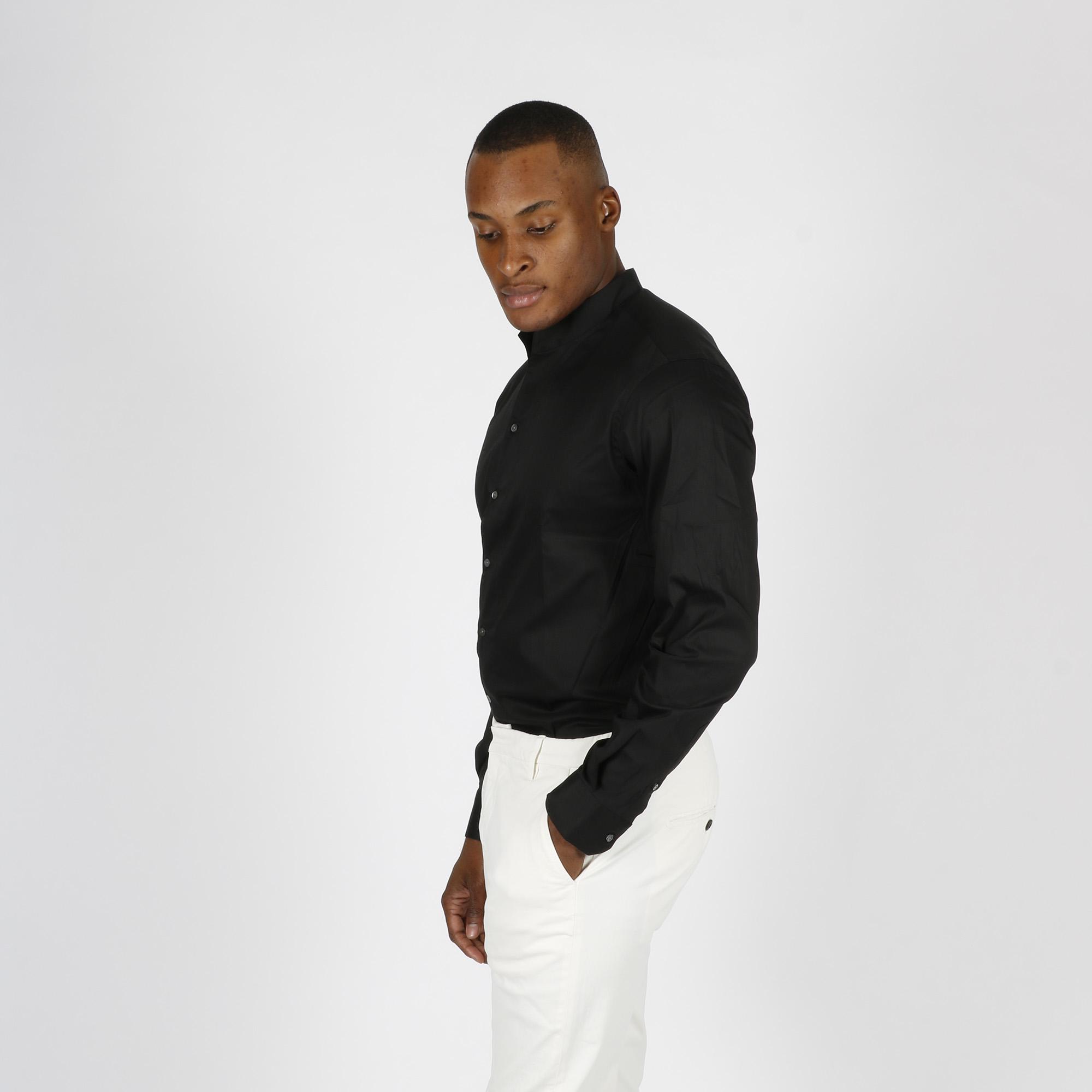 Camicia collo coreano - Nero