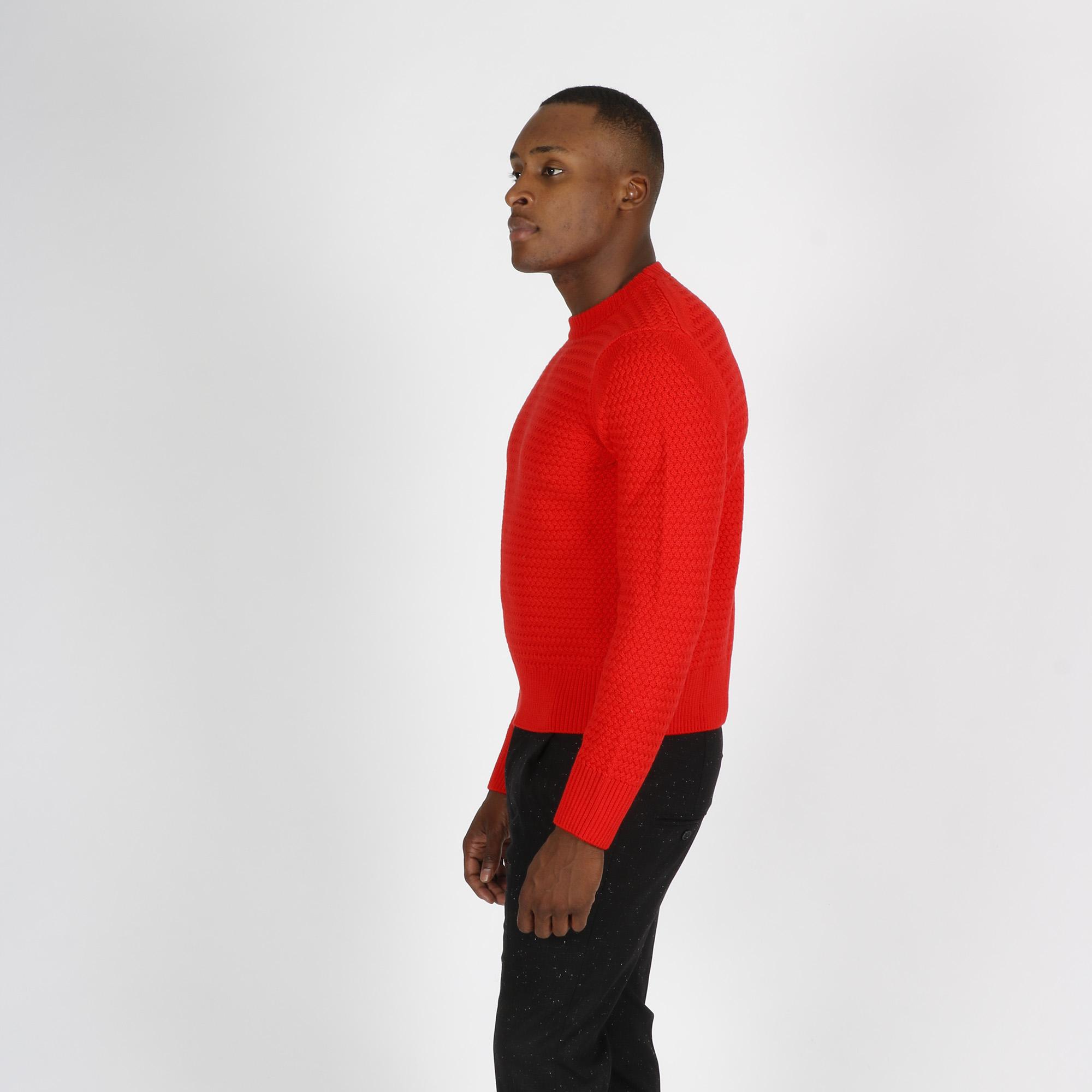 Paricollo punto maglia treccia -  Rosso