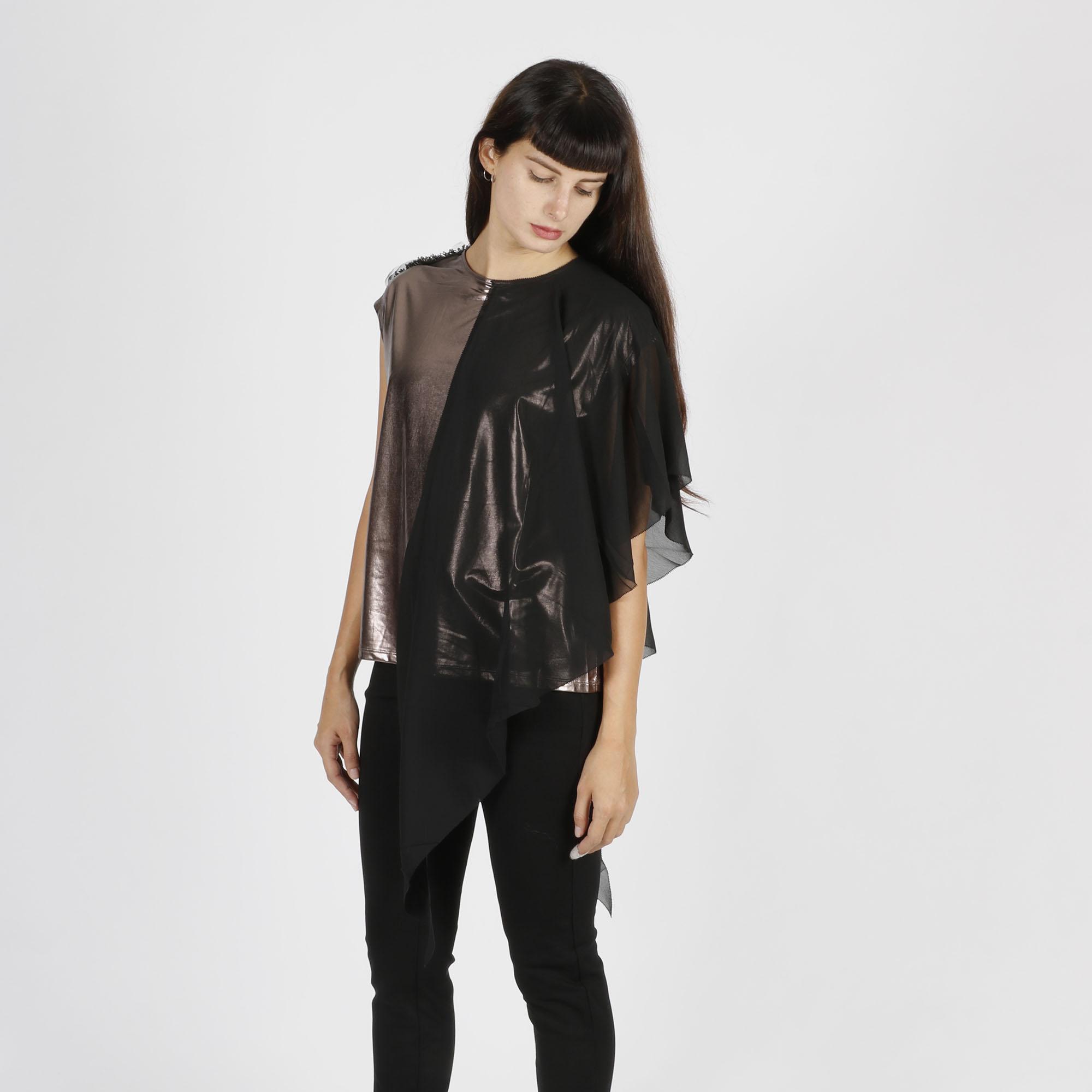 T-shirt metal e rouches - Bronzo/nero